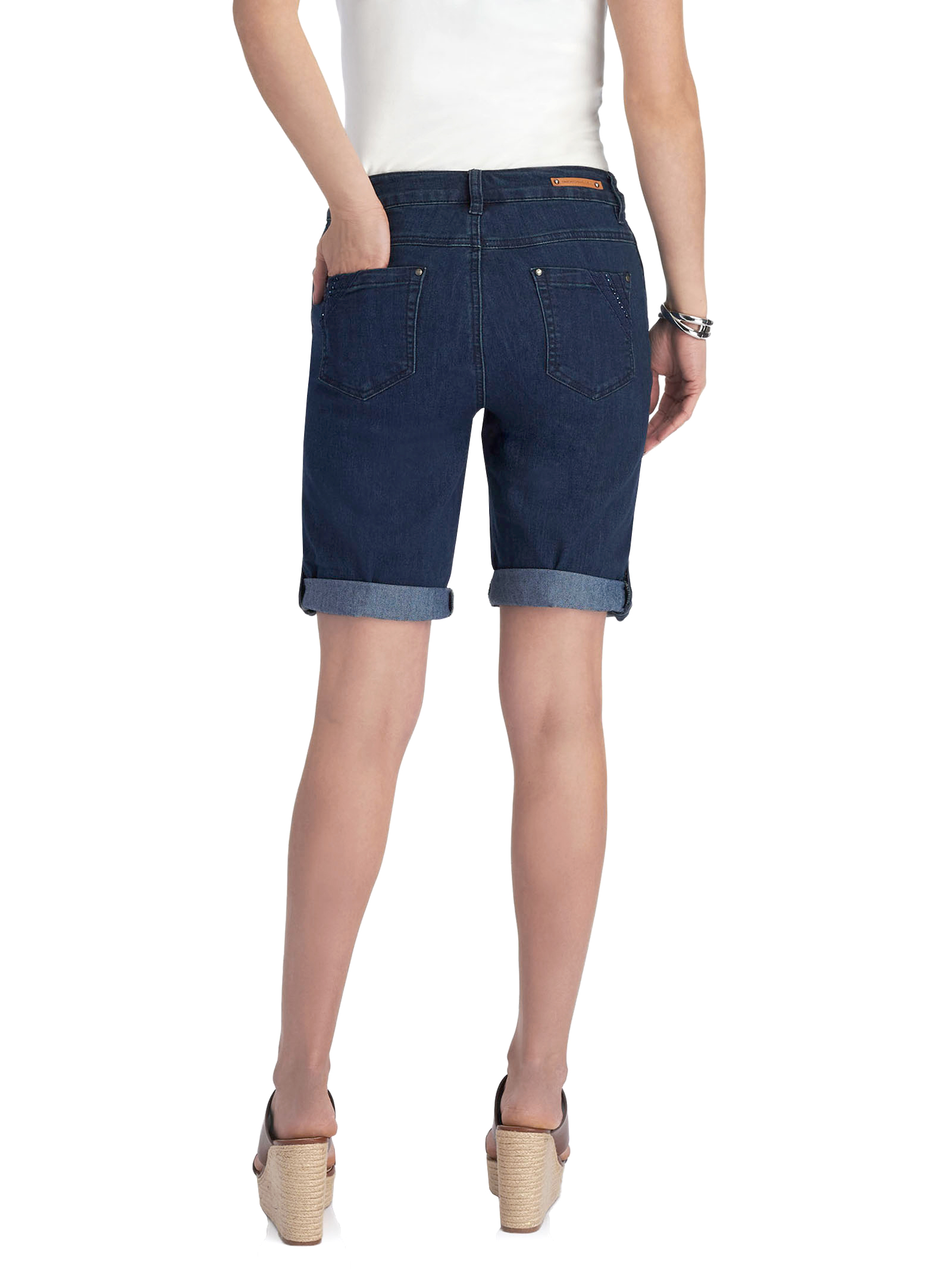 Simon Chang Denim Capri Shorts, Blue, hi-res