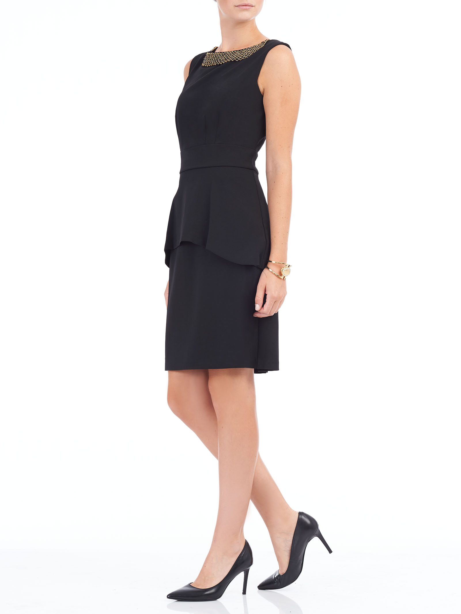Sleeveless Crêpe Peplum Dress, Black, hi-res