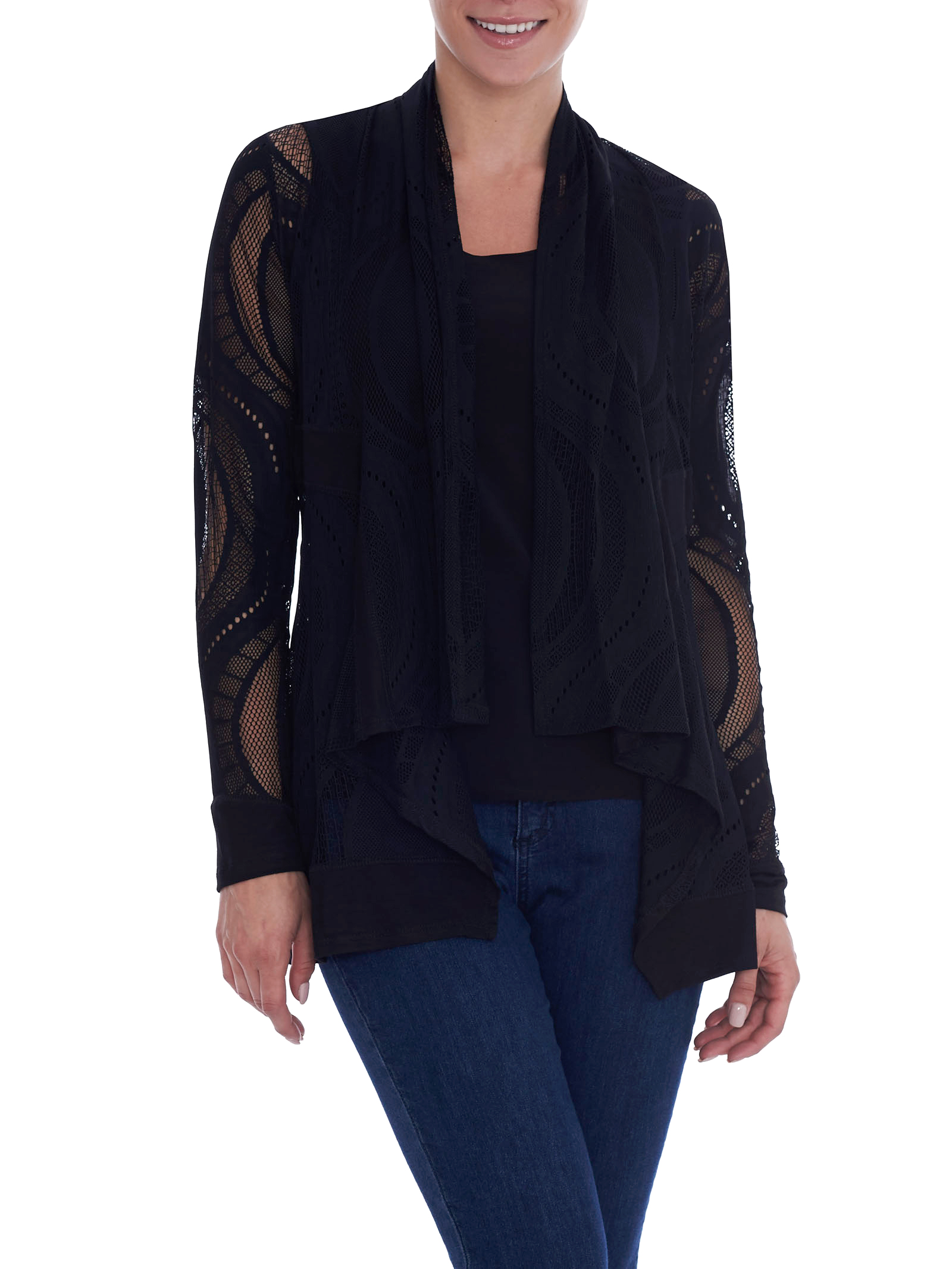 Long Sleeve Crochet Cardigan, Black, hi-res