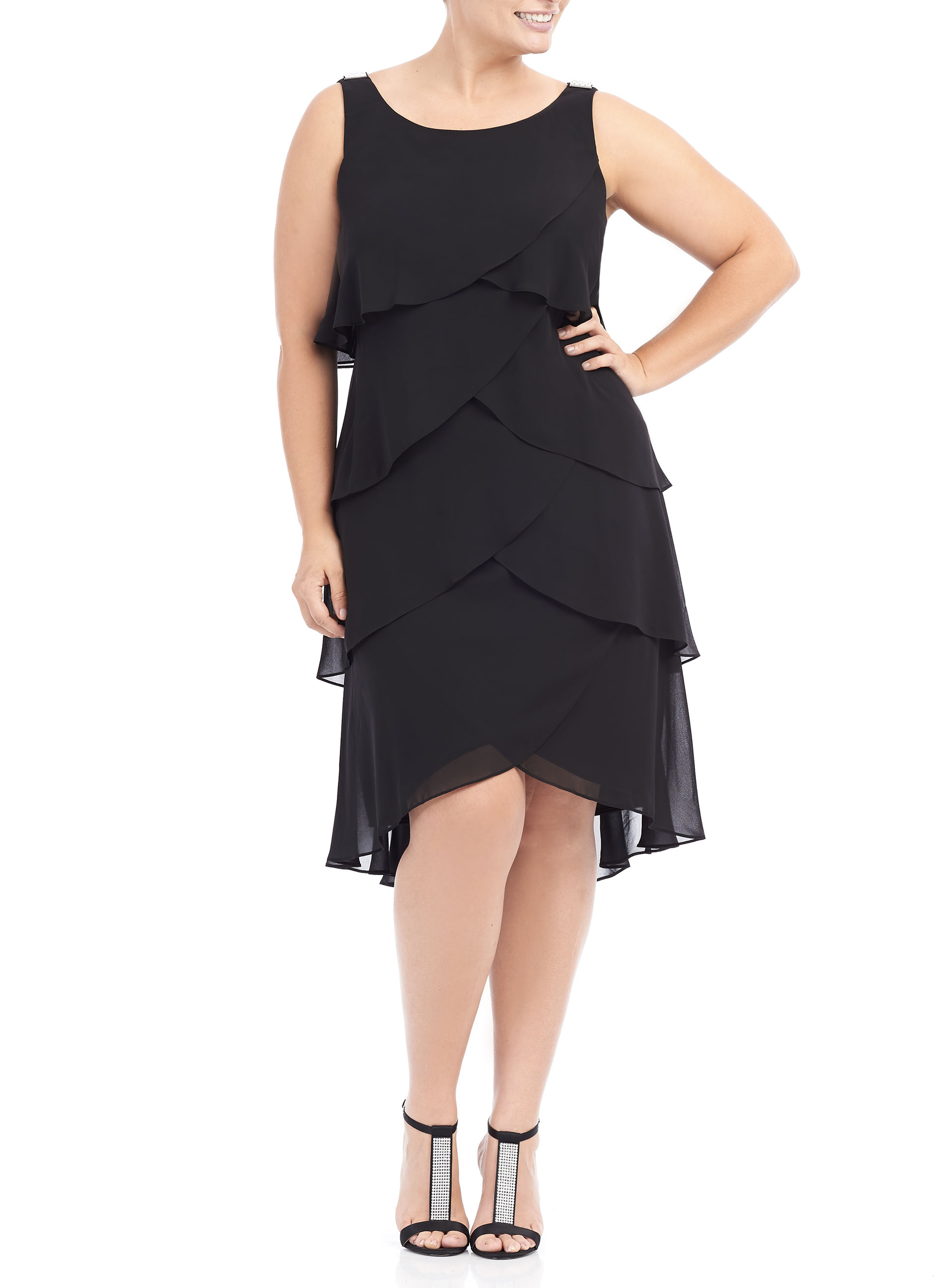 Sleeveless Tiered Chiffon Dress, Black, hi-res