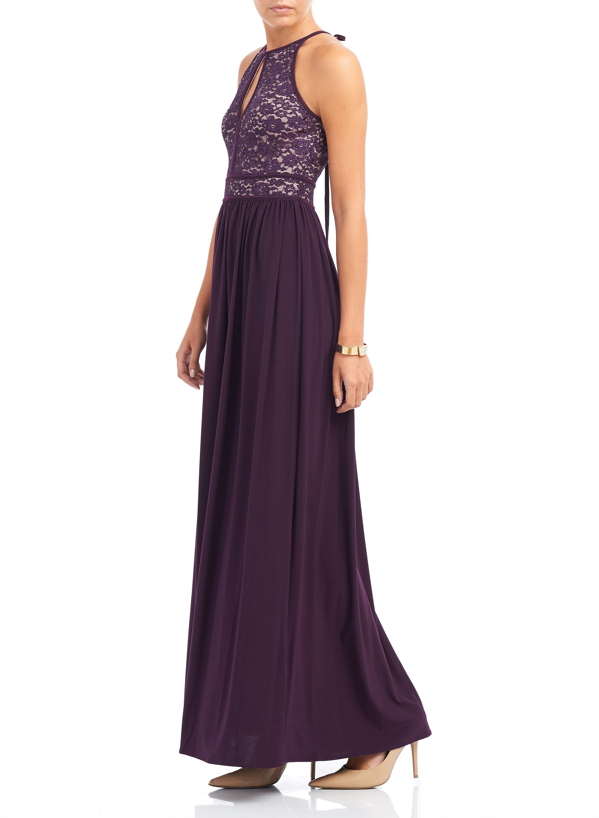 Sequined Lace Halter Neck Gown , Purple, hi-res