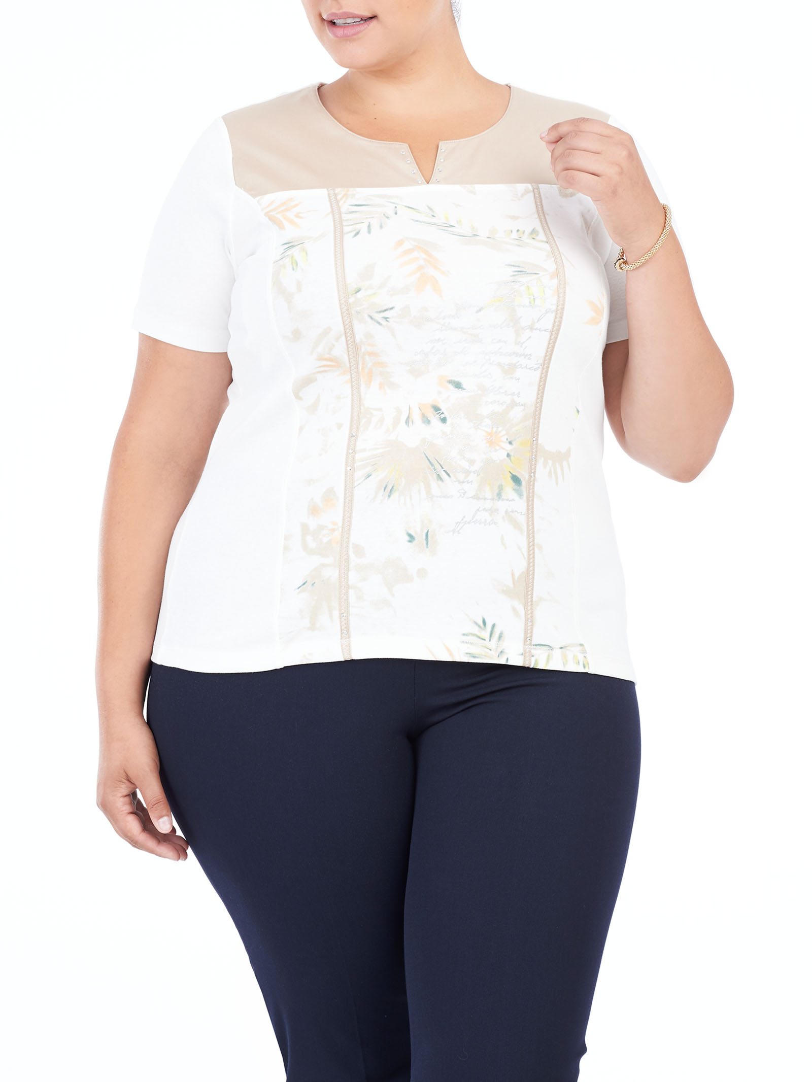 Printed Sequined Trim T-Shirt, White, hi-res