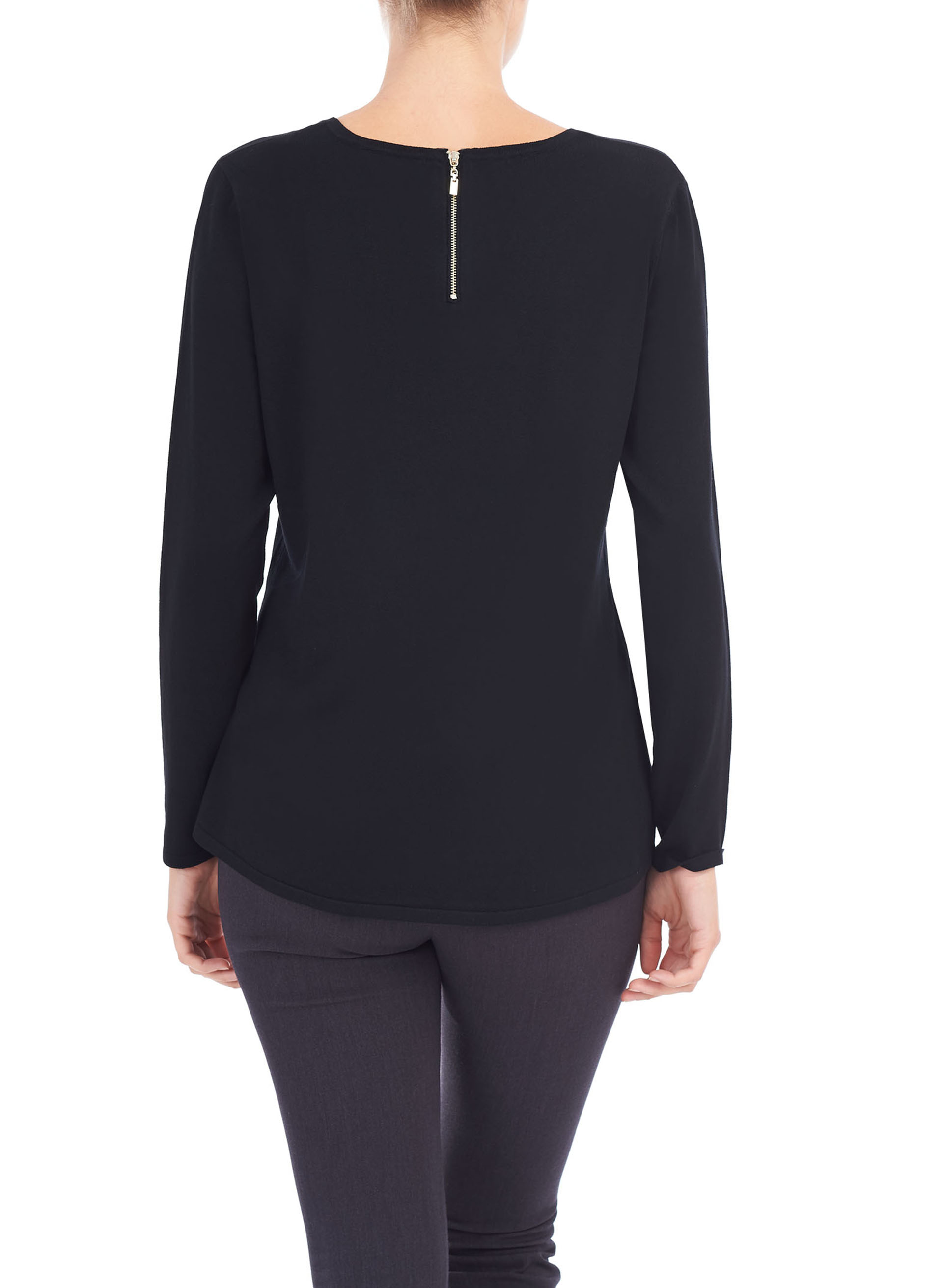 Back Zip Scoop Neck Sweater, Black, hi-res