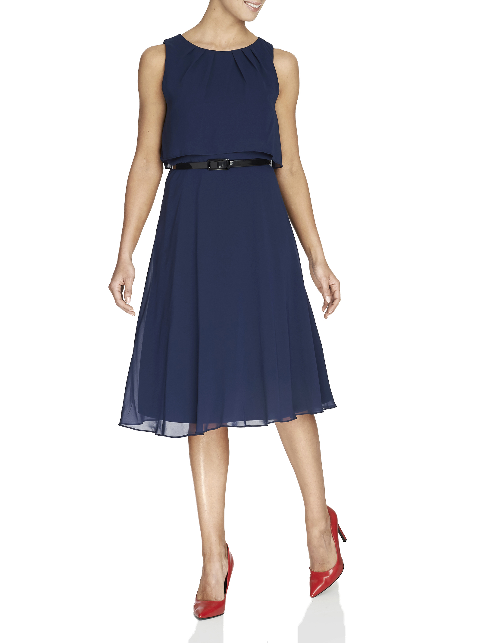 Popover Top Belted Dress, Blue, hi-res