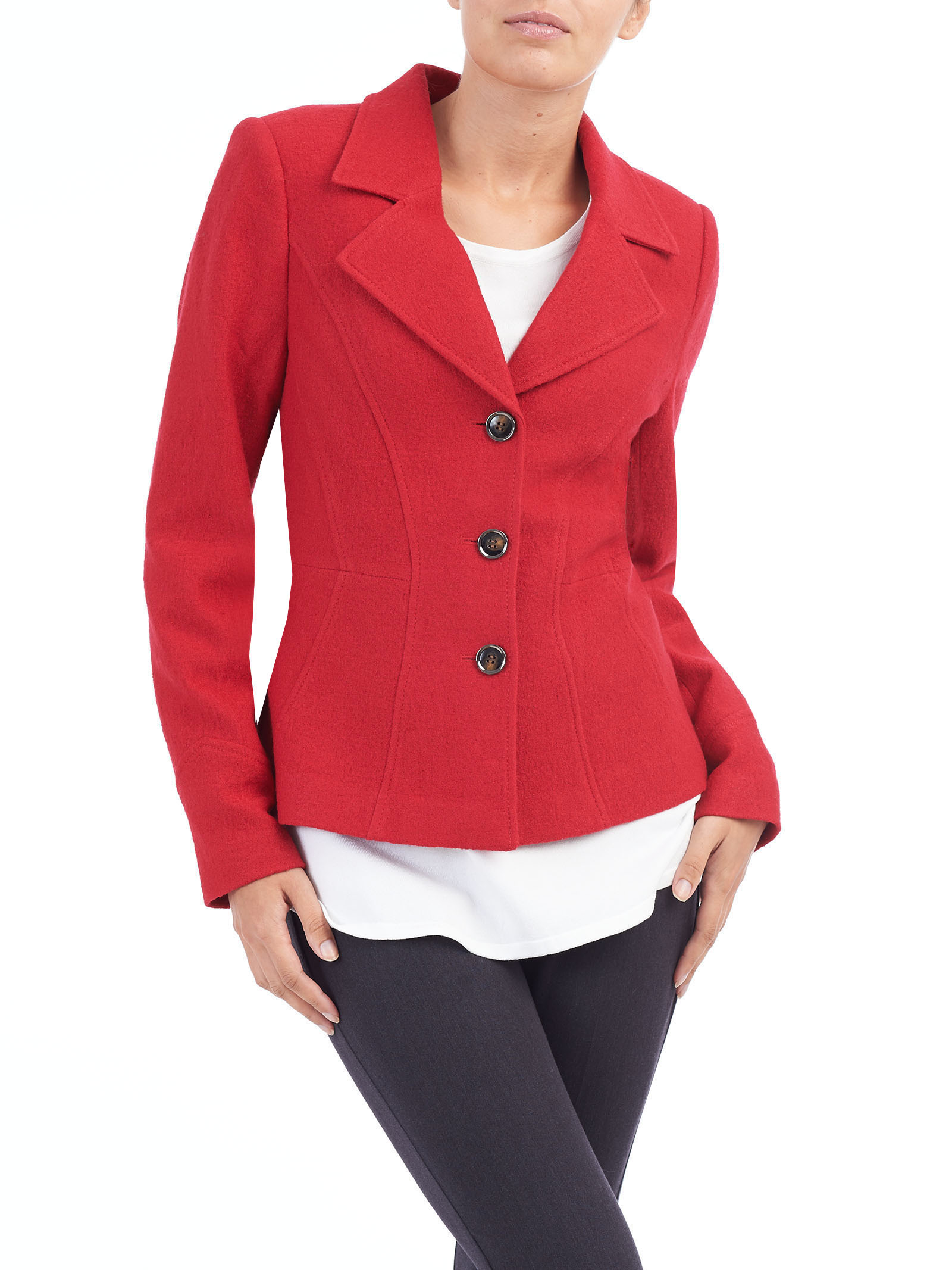 Notch Collar Wool Blend Jacket, Red, hi-res