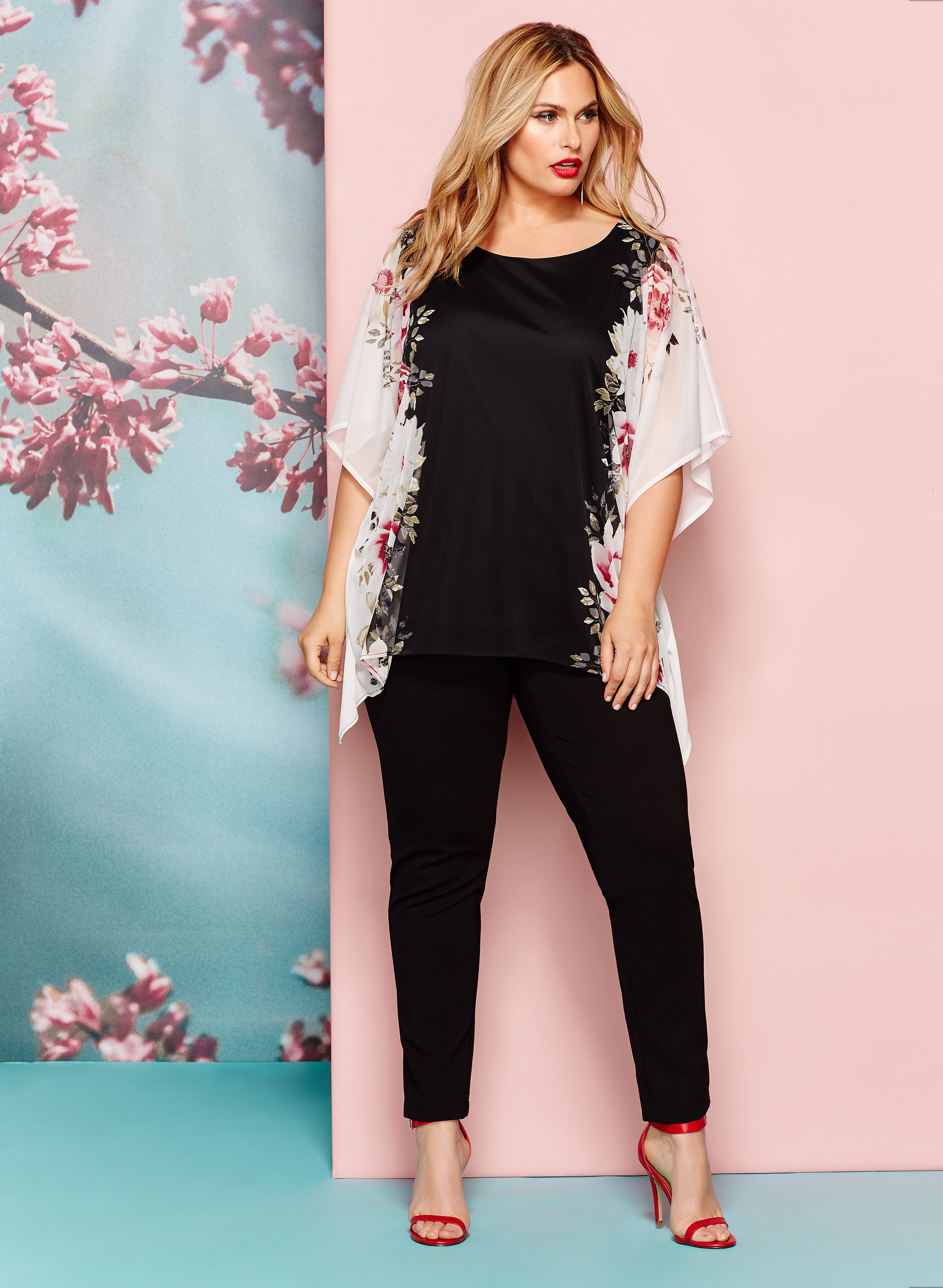 Floral Print Mesh Poncho Blouse