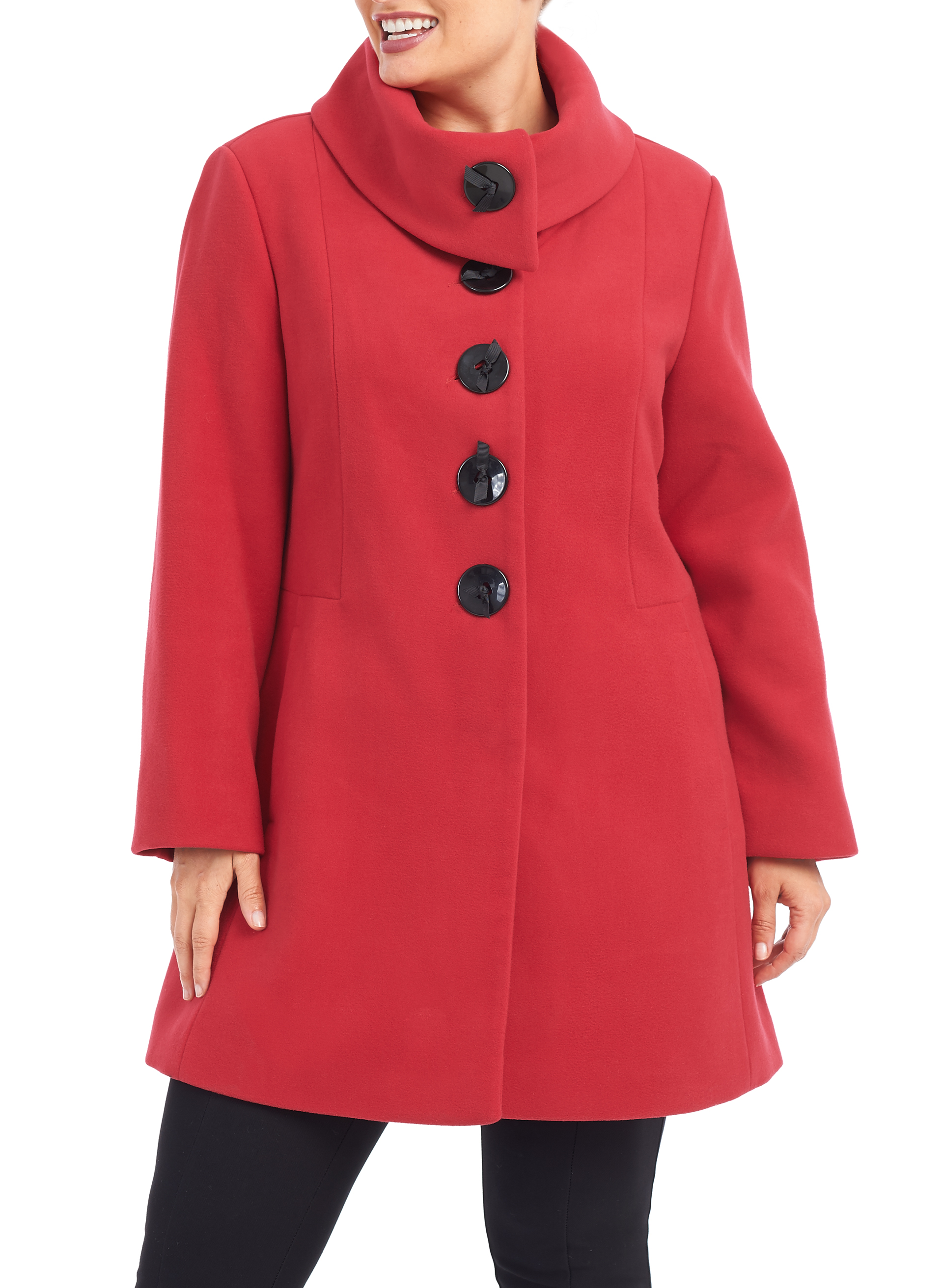 Marcona Wool-Like Coat , Red, hi-res