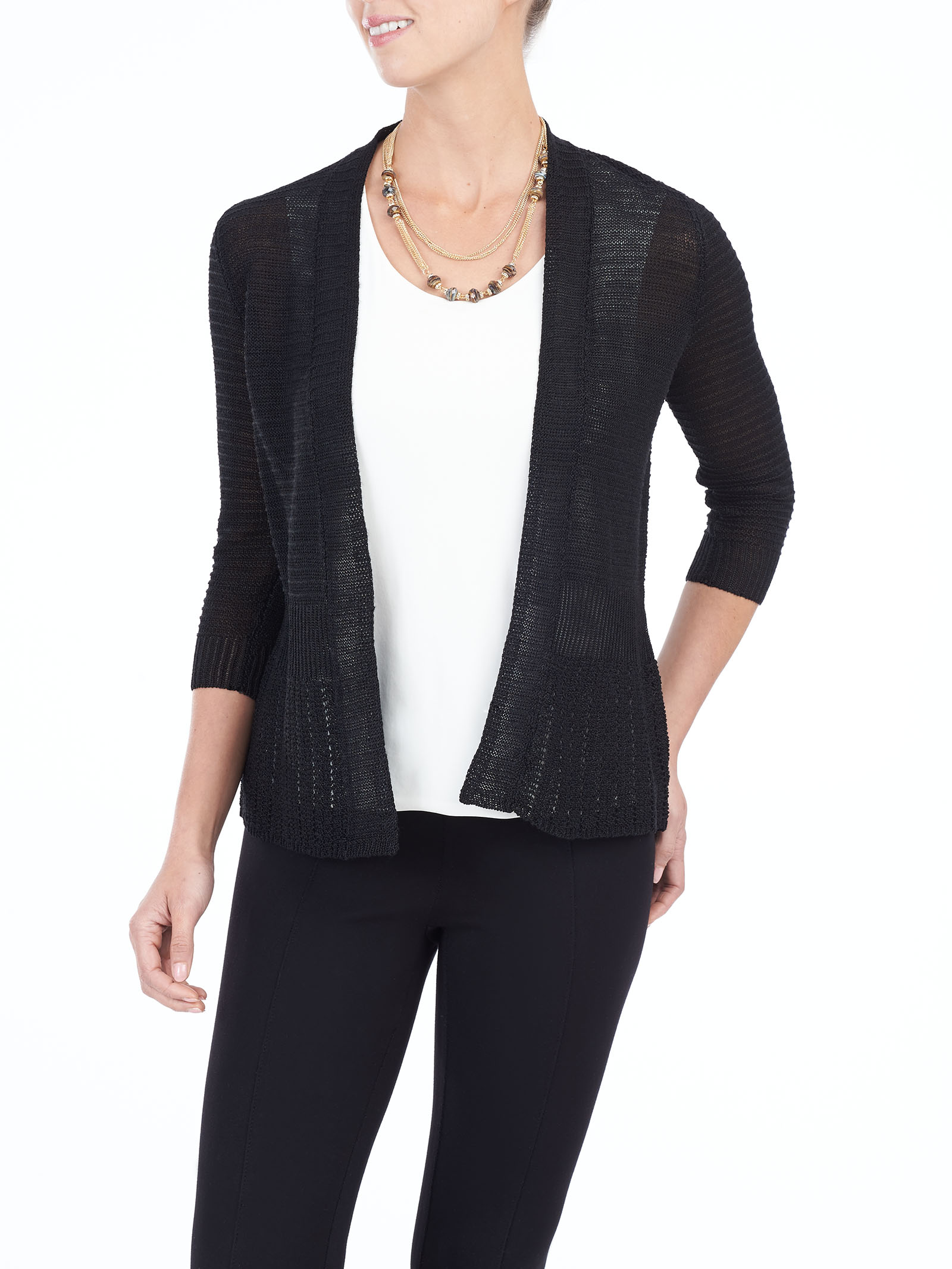 Long Sleeve Knit Cardigan , Black, hi-res