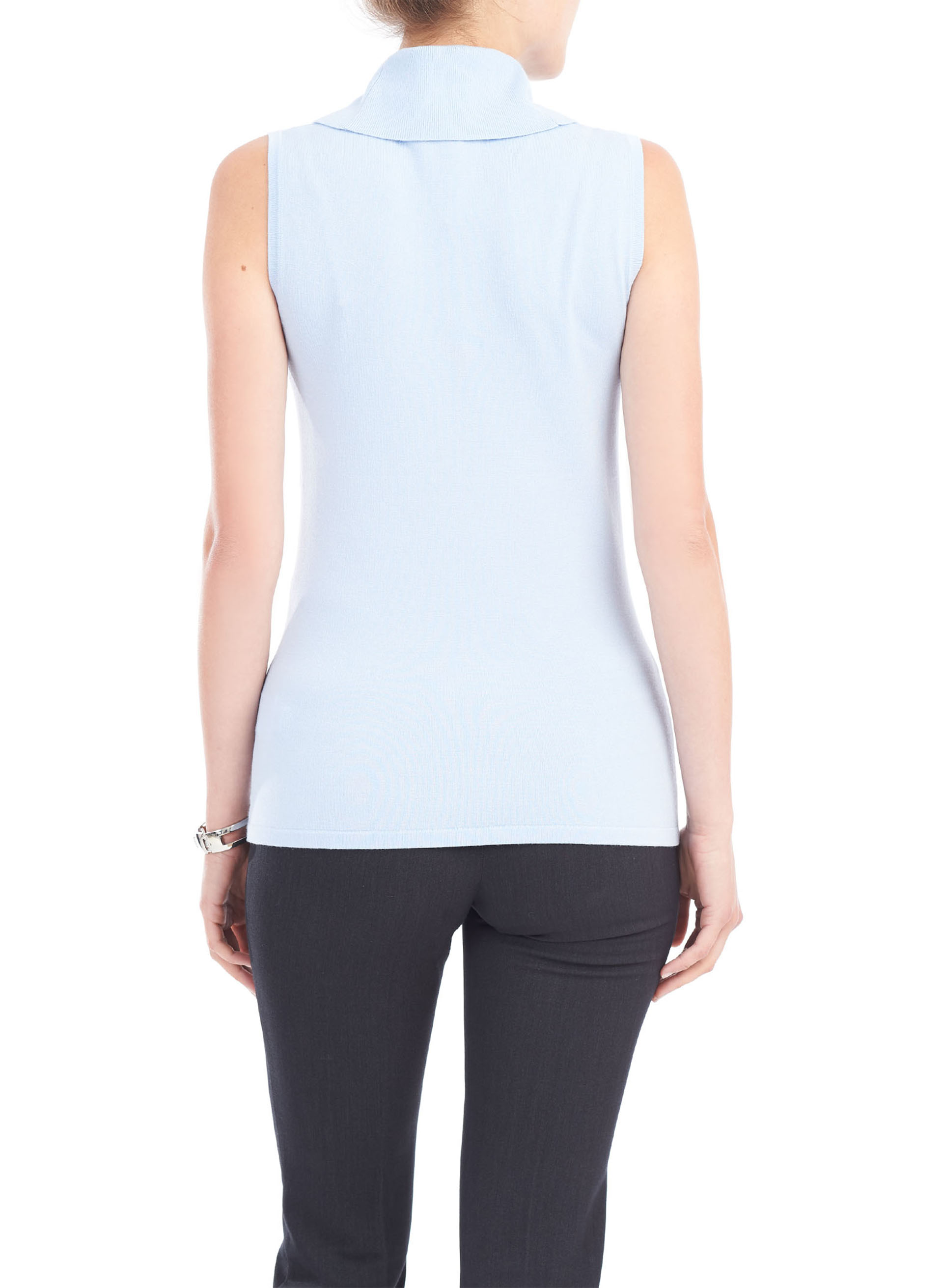 Sleeveless Knit Cowl Neck Top, Blue, hi-res