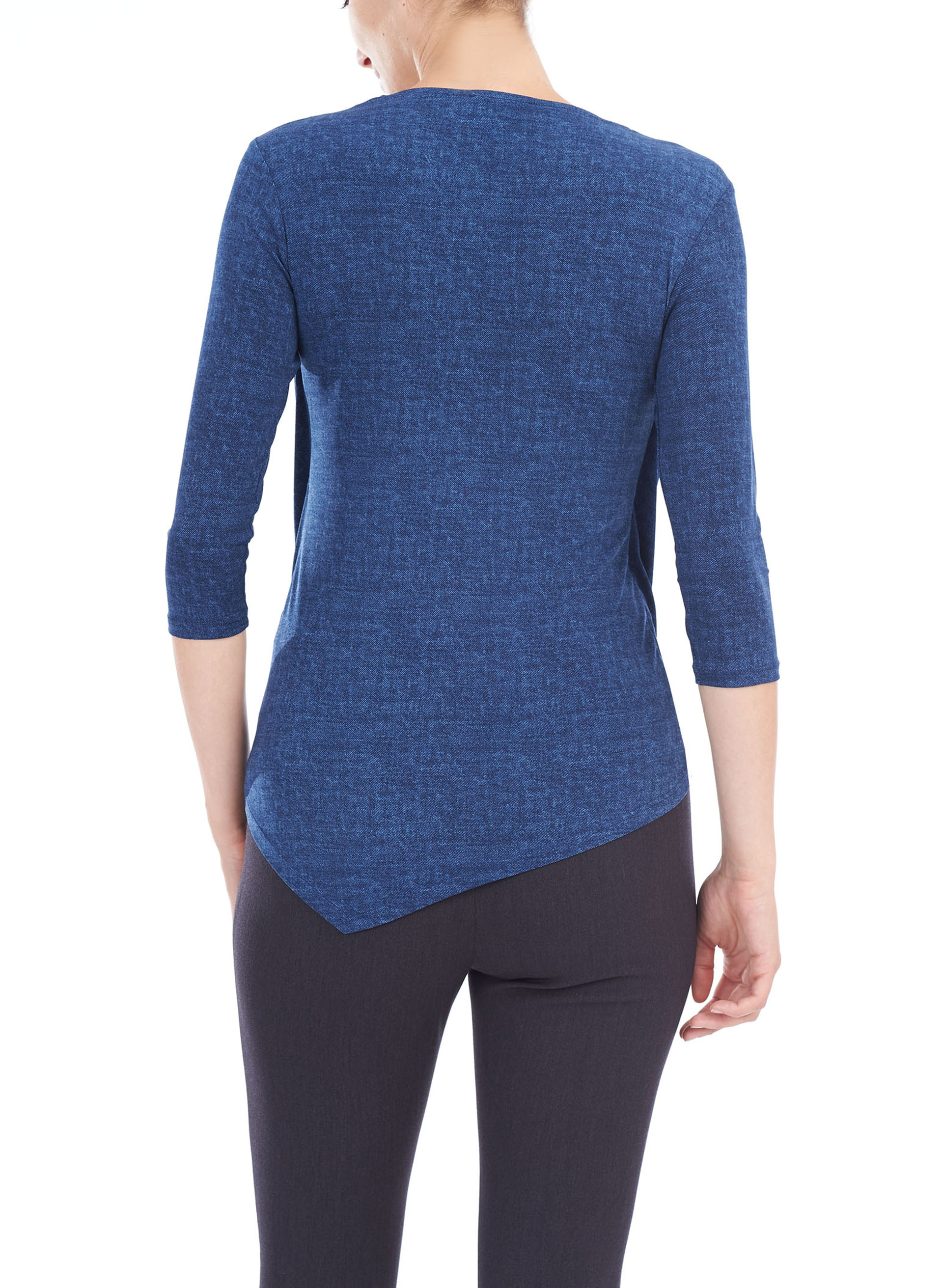 3/4 Sleeve Twist Drape Front Top, Blue, hi-res