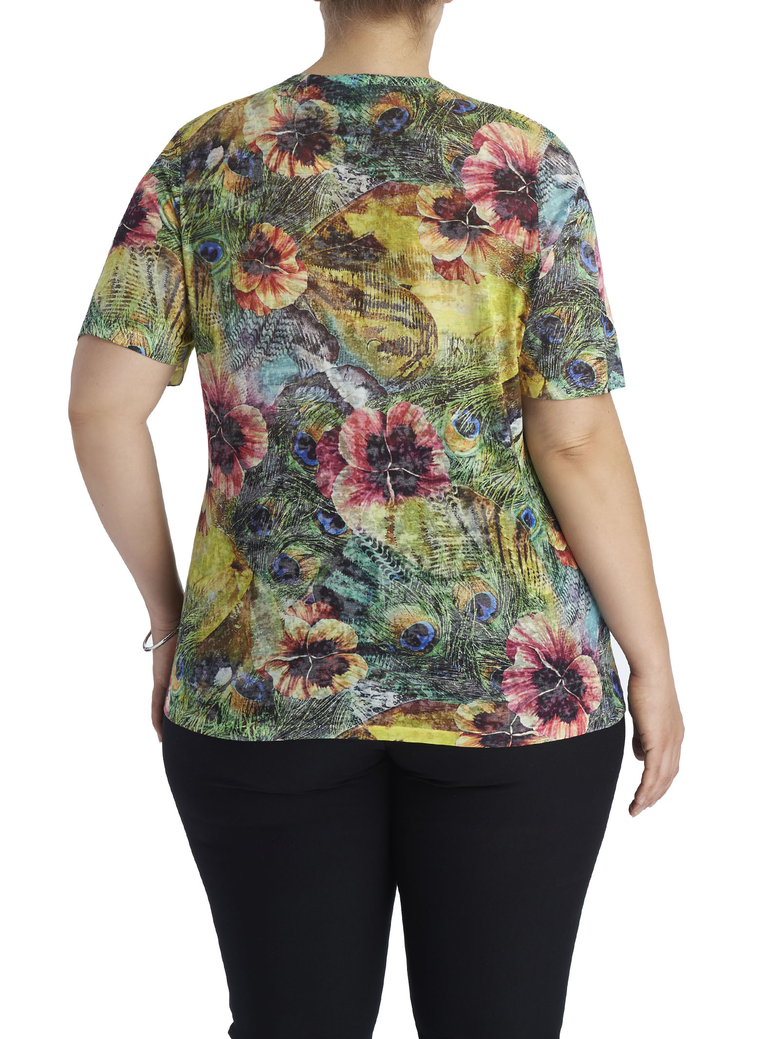 Sequined Tropical Print T-Shirt, Yellow, hi-res