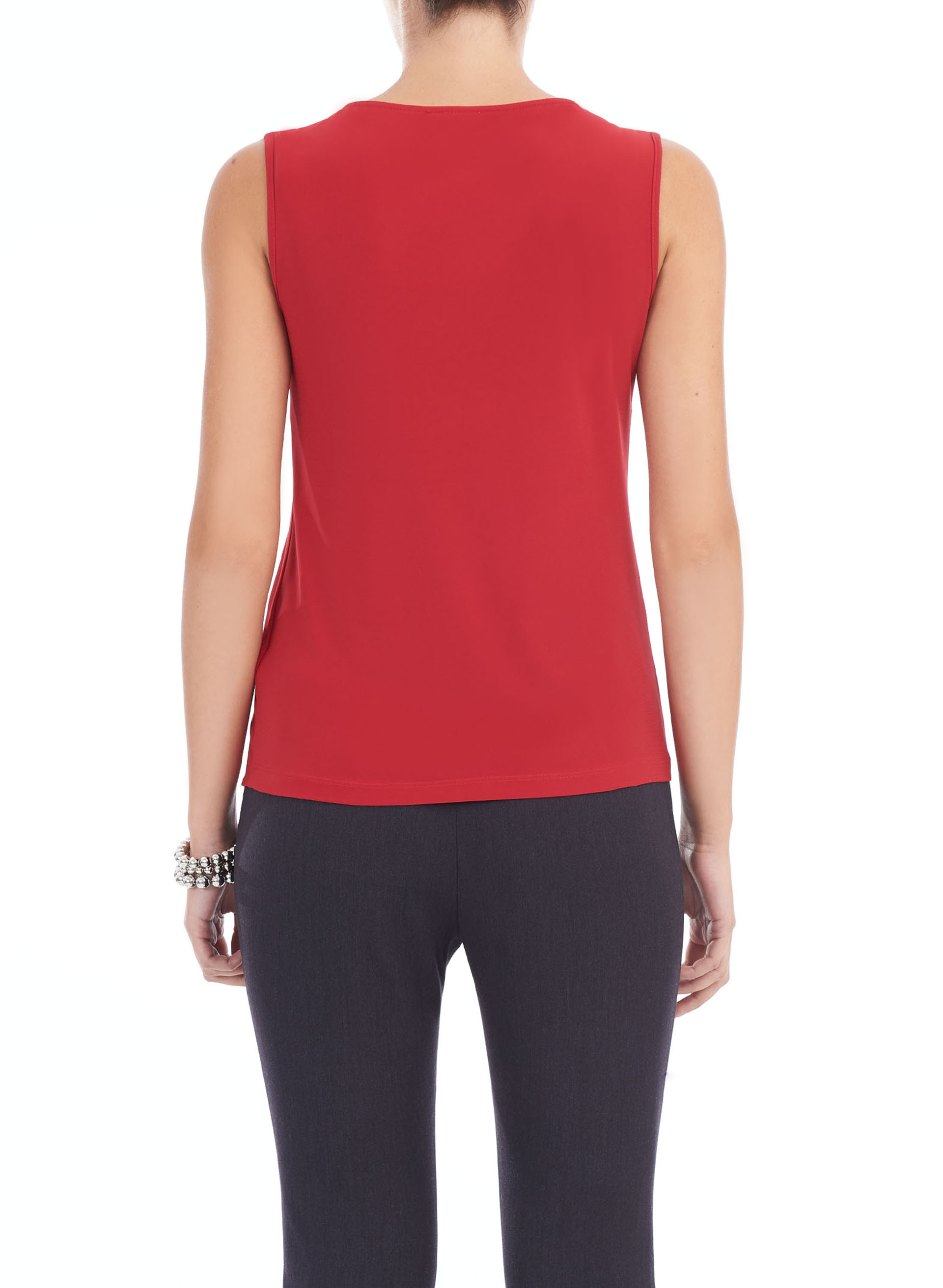 Basic Scoop Neck Tank Top, Red, hi-res