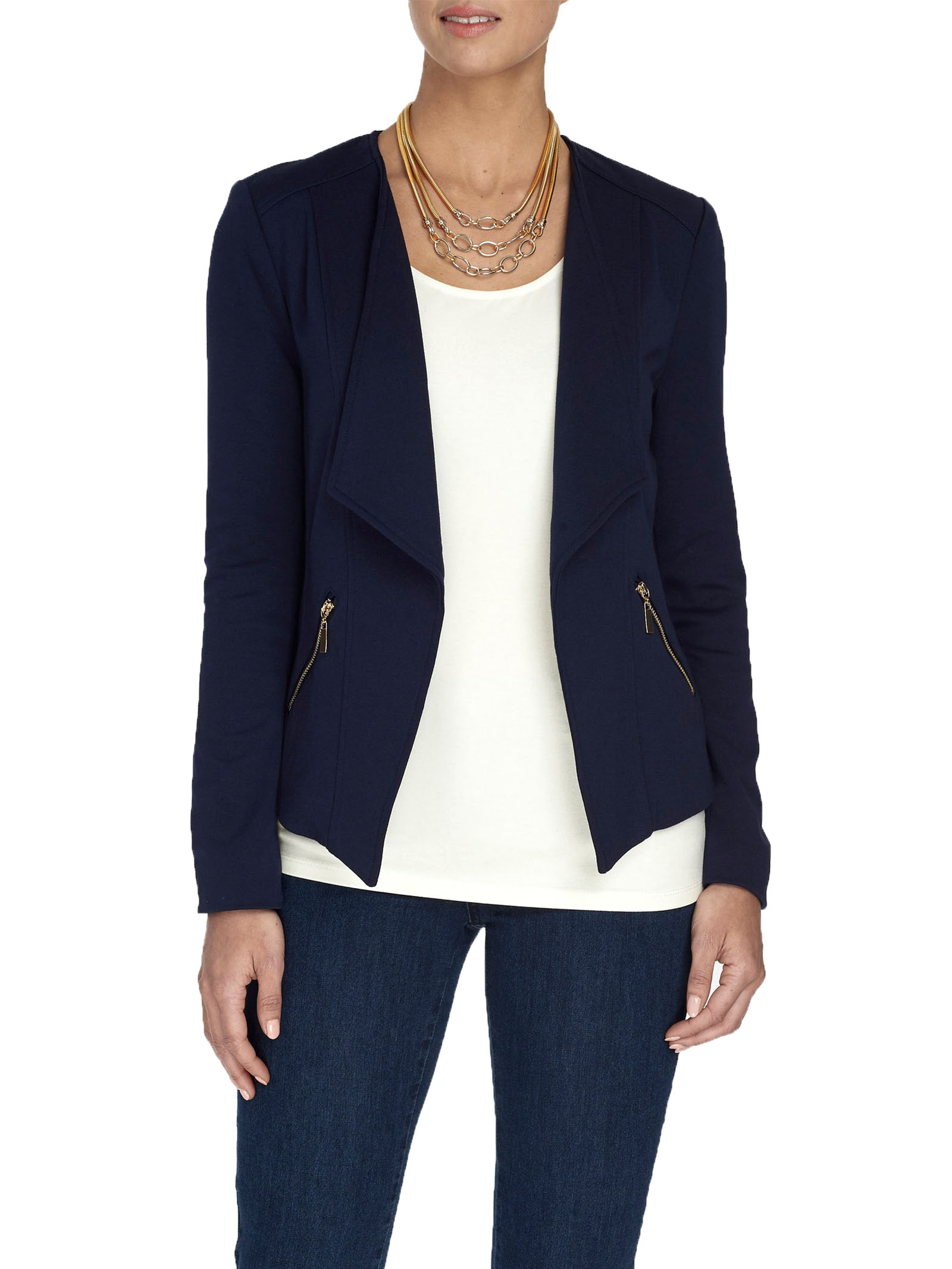 Knit Zipper Trim Jacket, Blue, hi-res