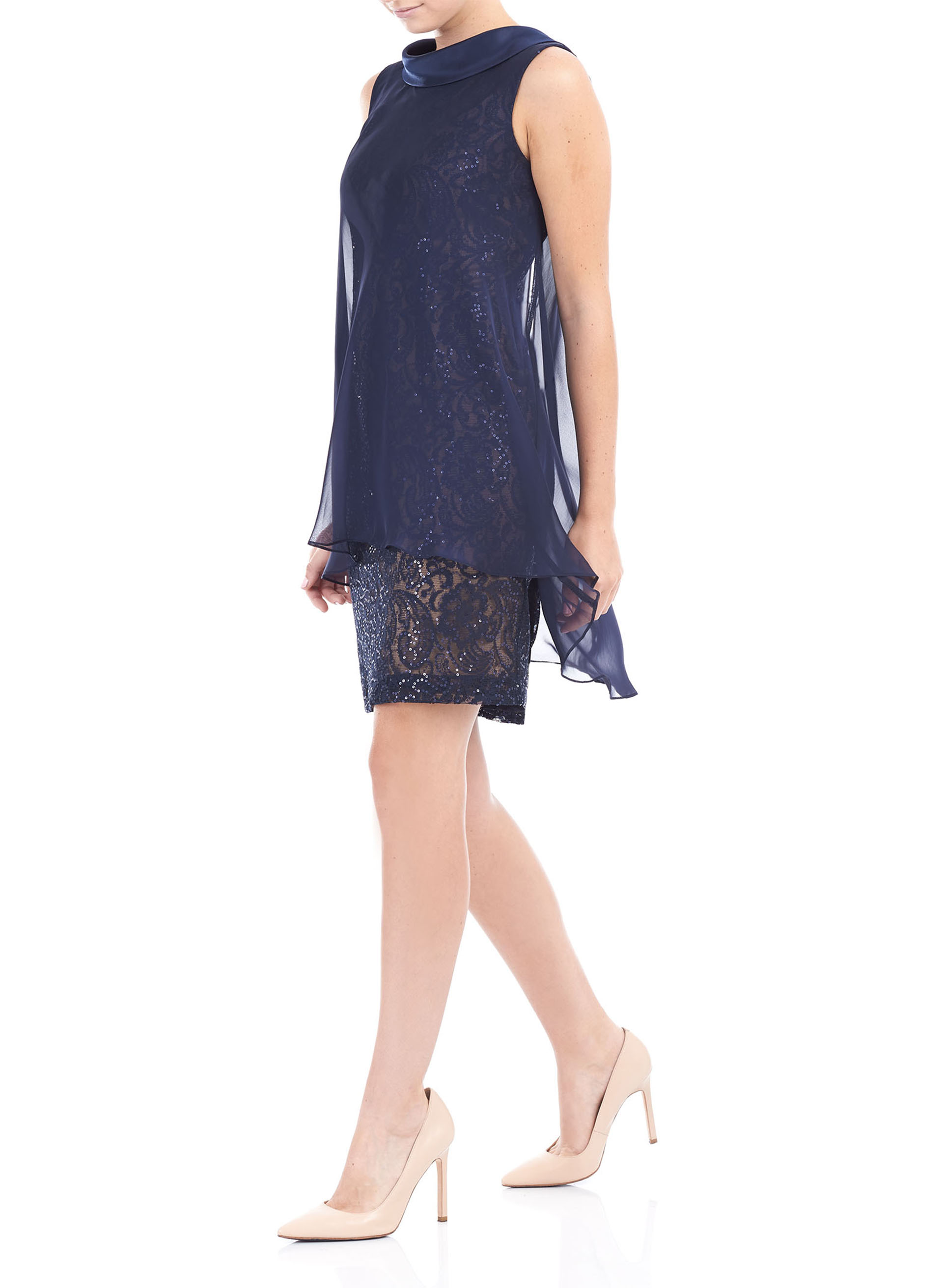 Chiffon Overlay V-Back Dress, Blue, hi-res