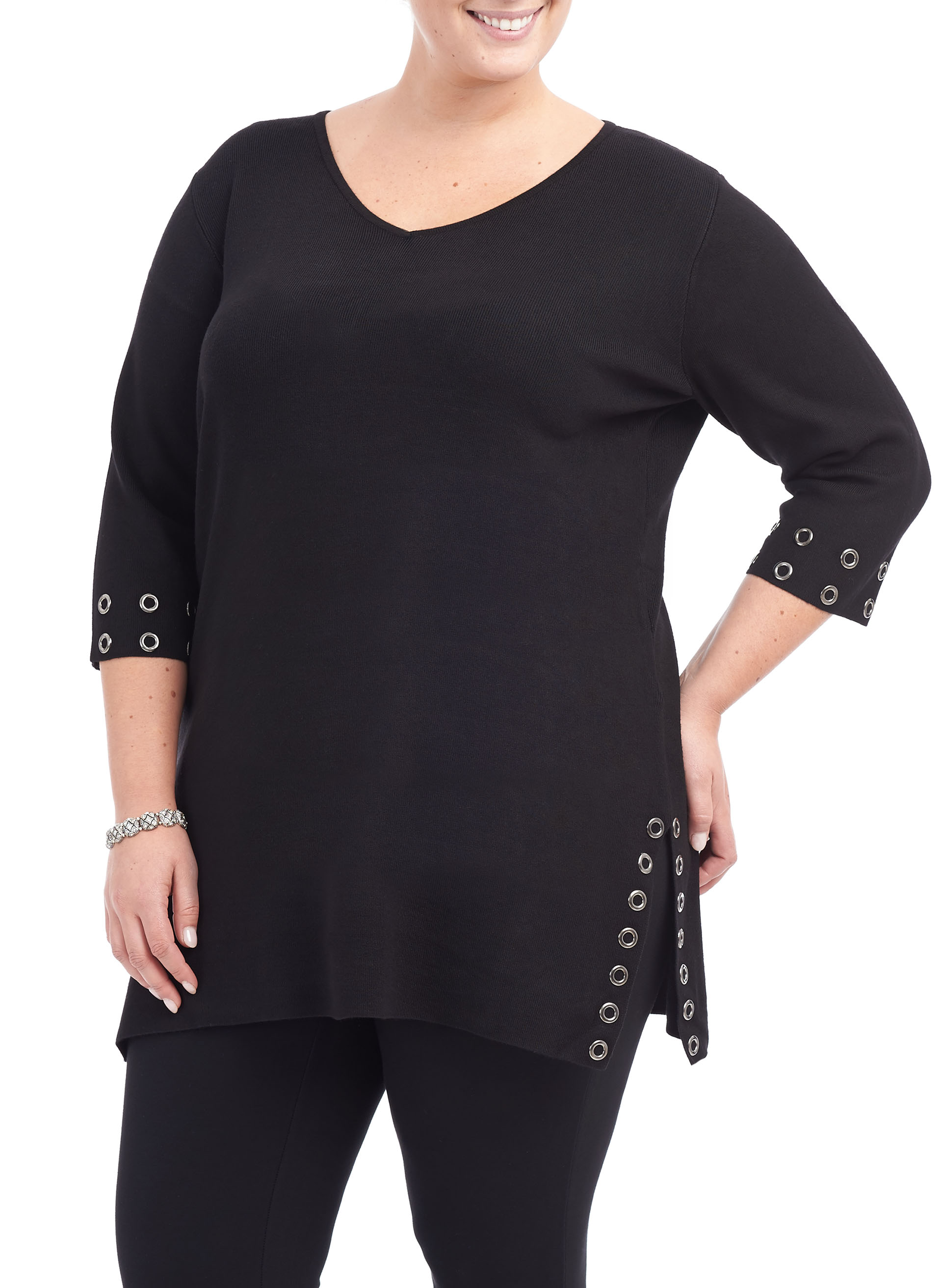 3/4 Sleeve Knit Tunic Sweater, Black, hi-res
