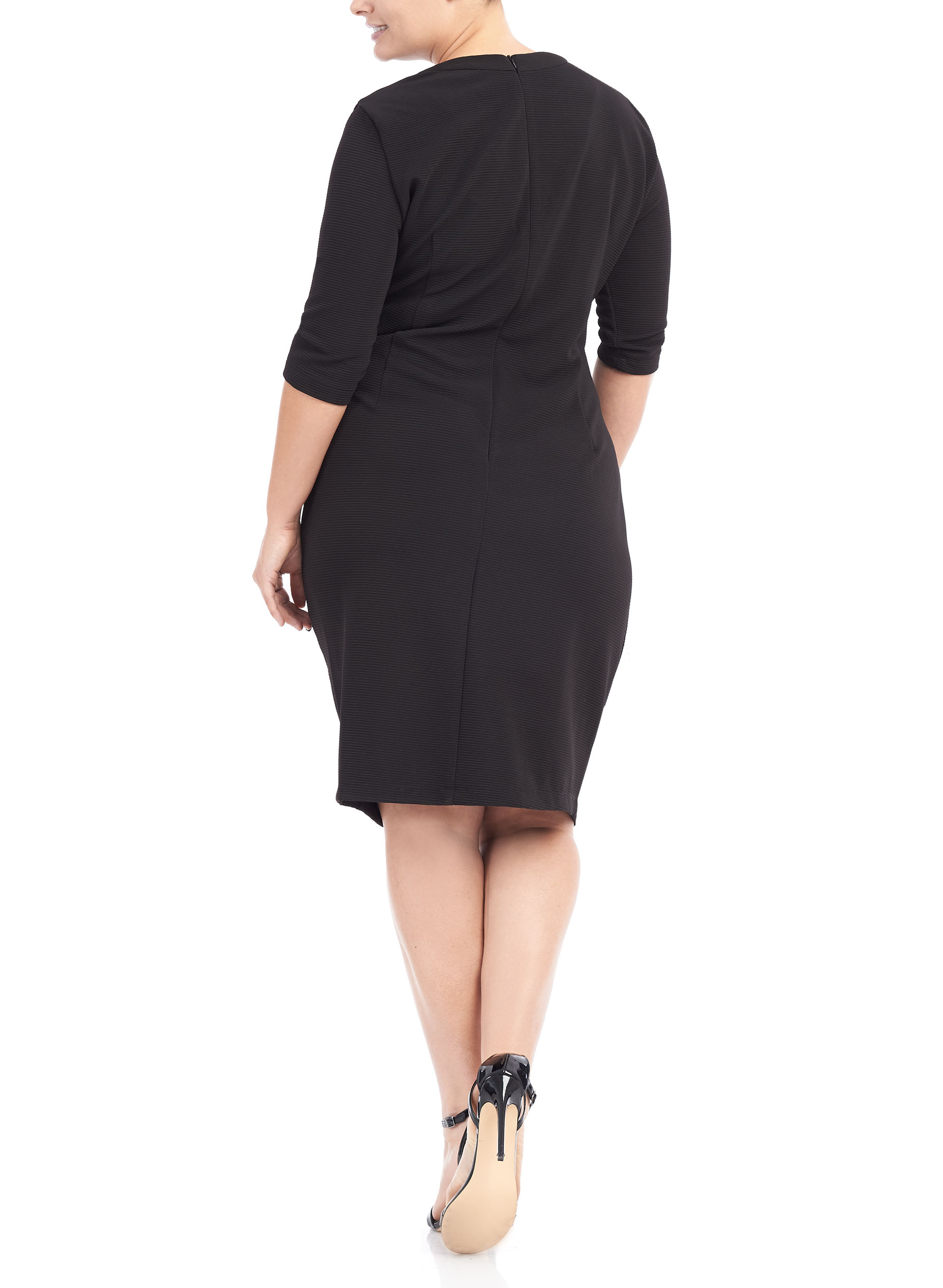 3/4 Sleeve Grommet Side Tie Dress, Black, hi-res