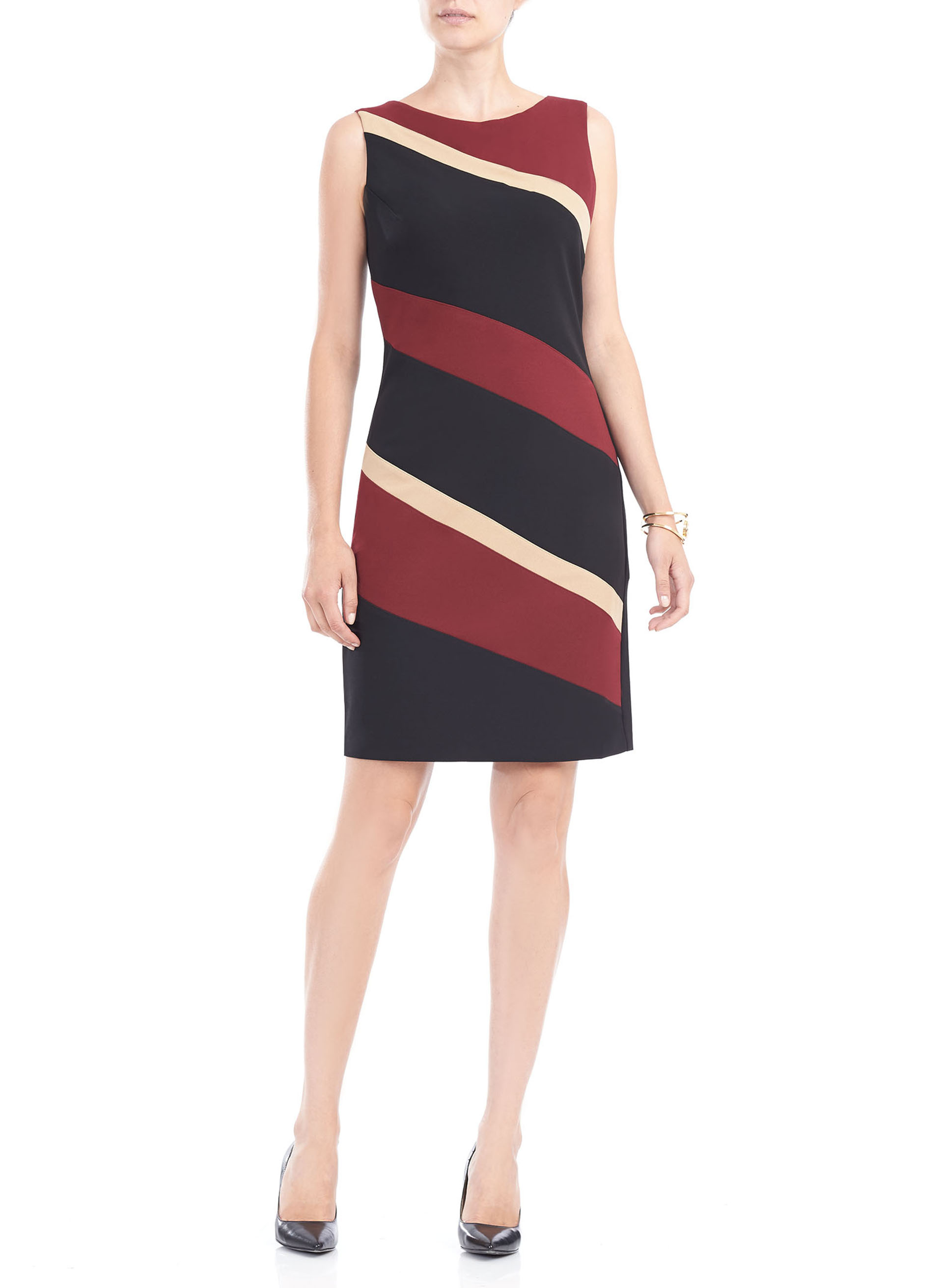 Sleeveless Colour Block Crêpe Dress, Multi, hi-res