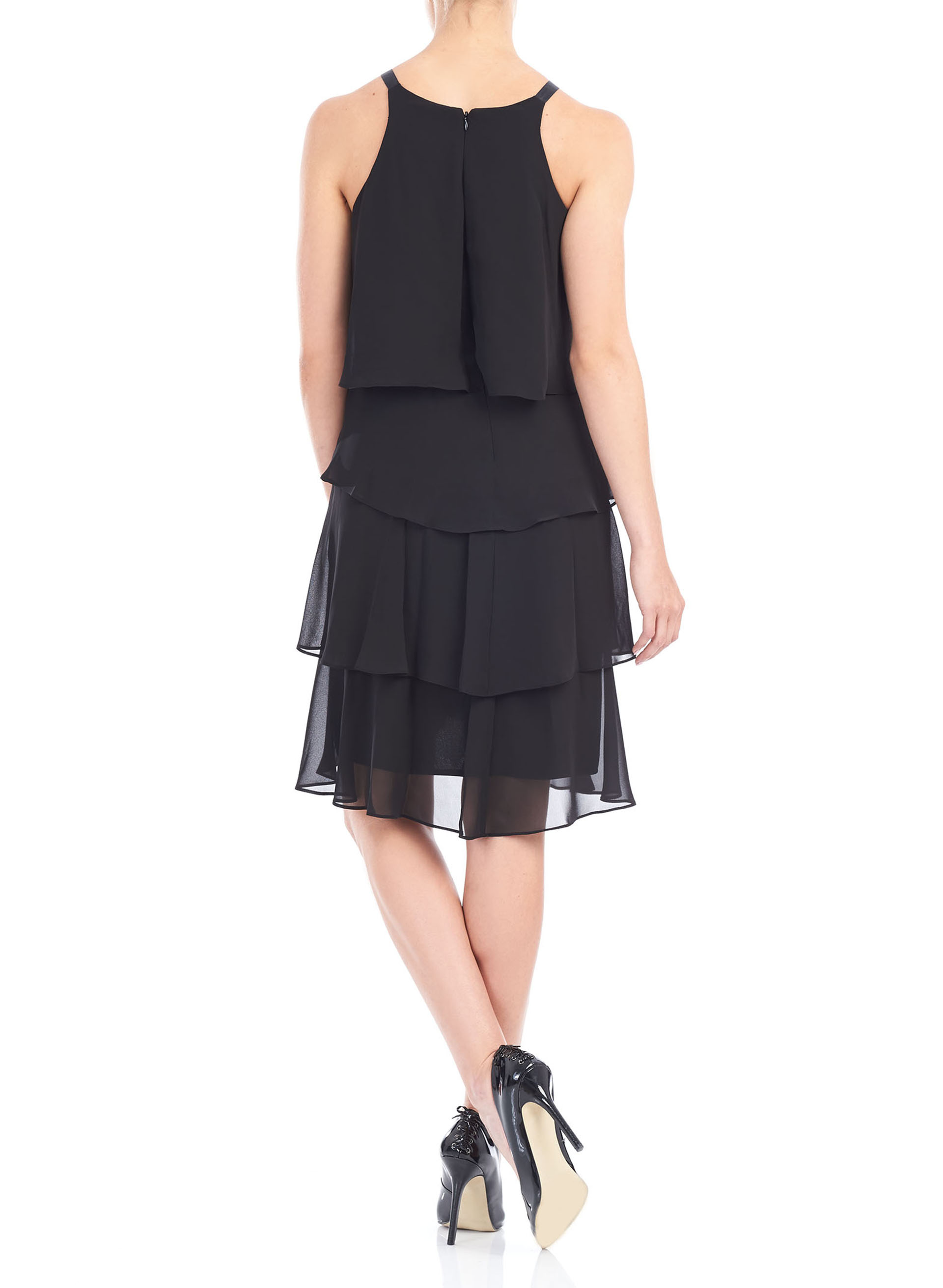 Beaded Neck Tiered Chiffon Dress, Black, hi-res