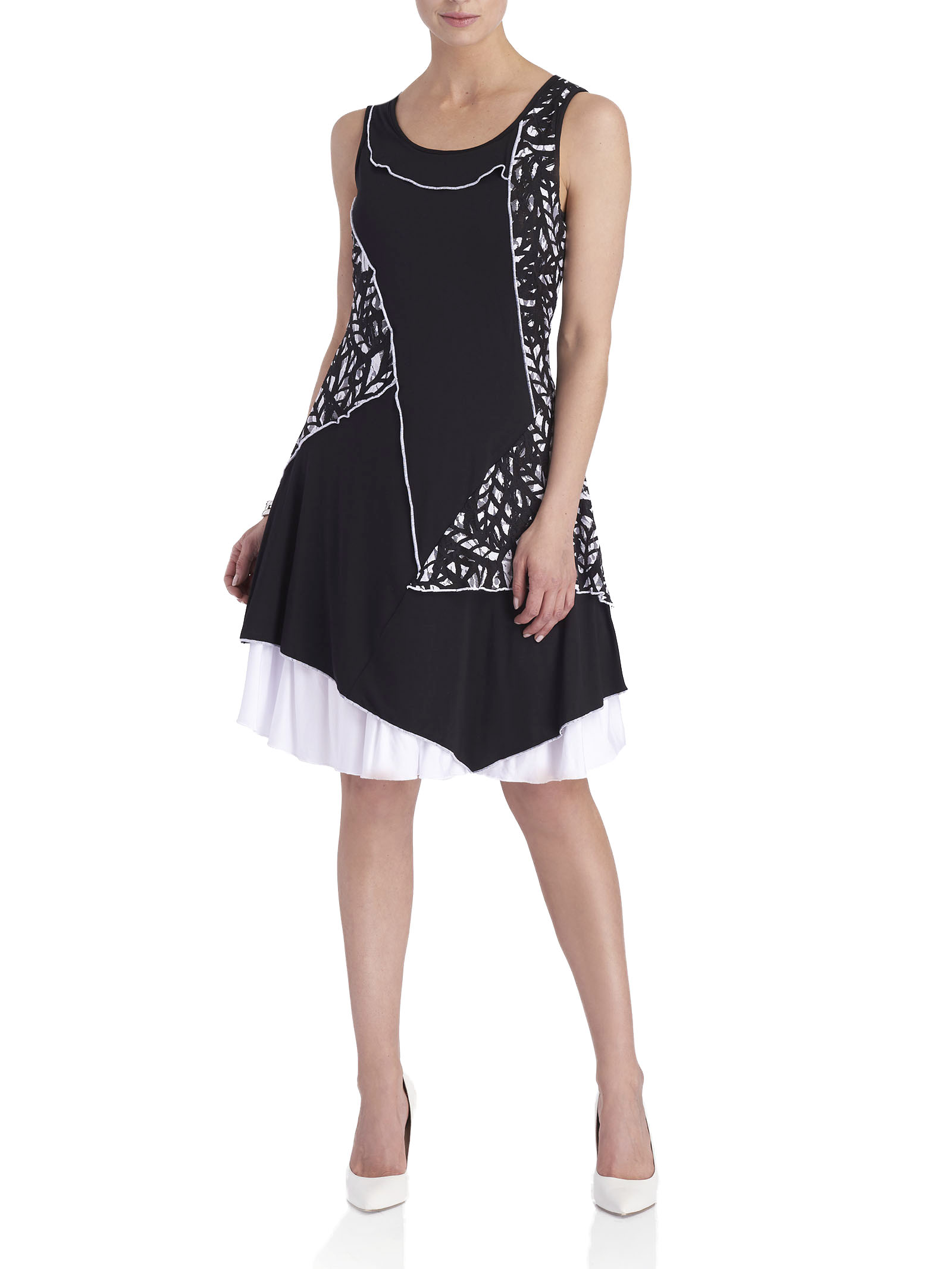 Lace Printed Fit & Flare Dress, Black, hi-res