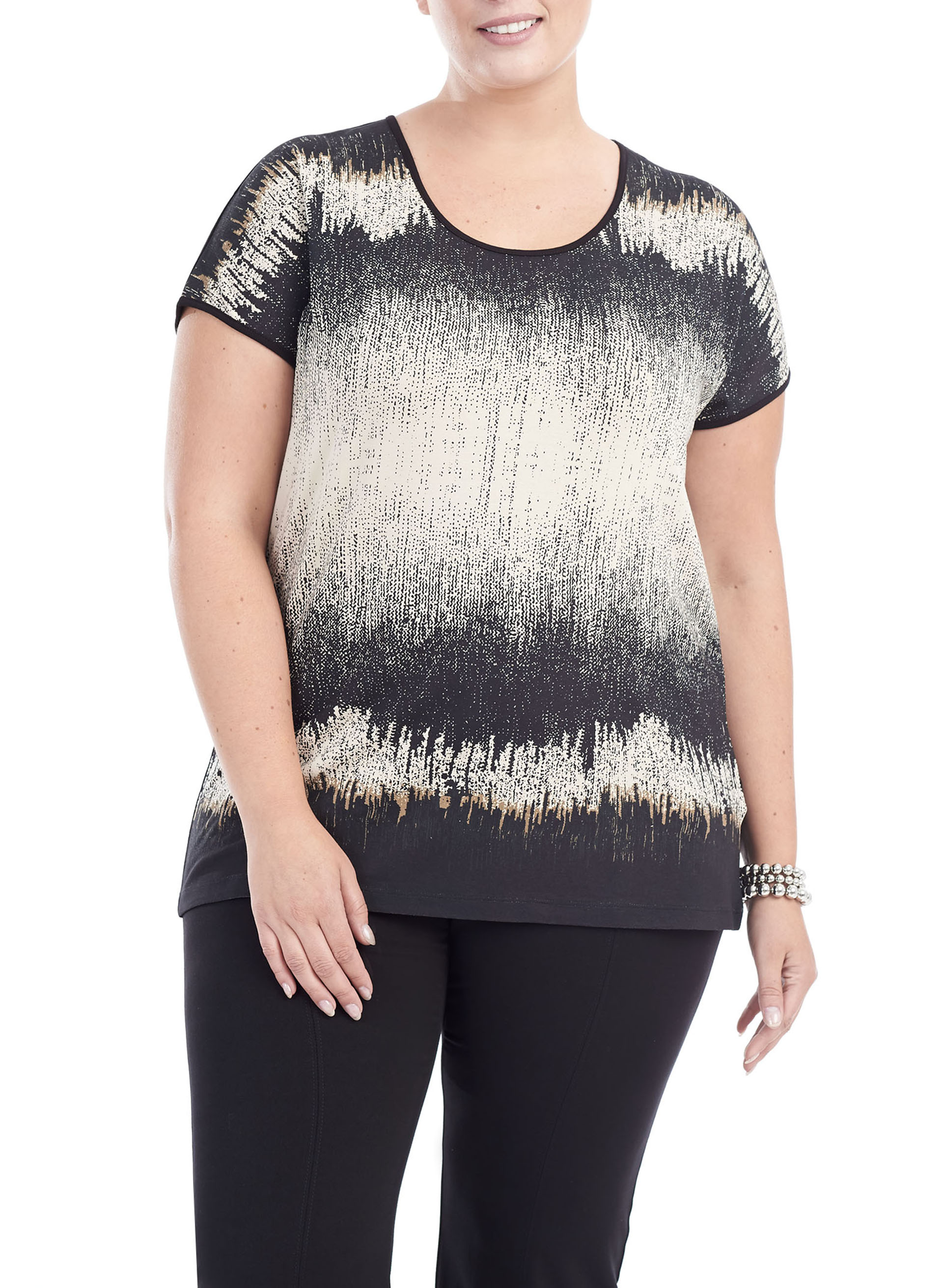 Short Sleeve Abstract Print Top, Black, hi-res