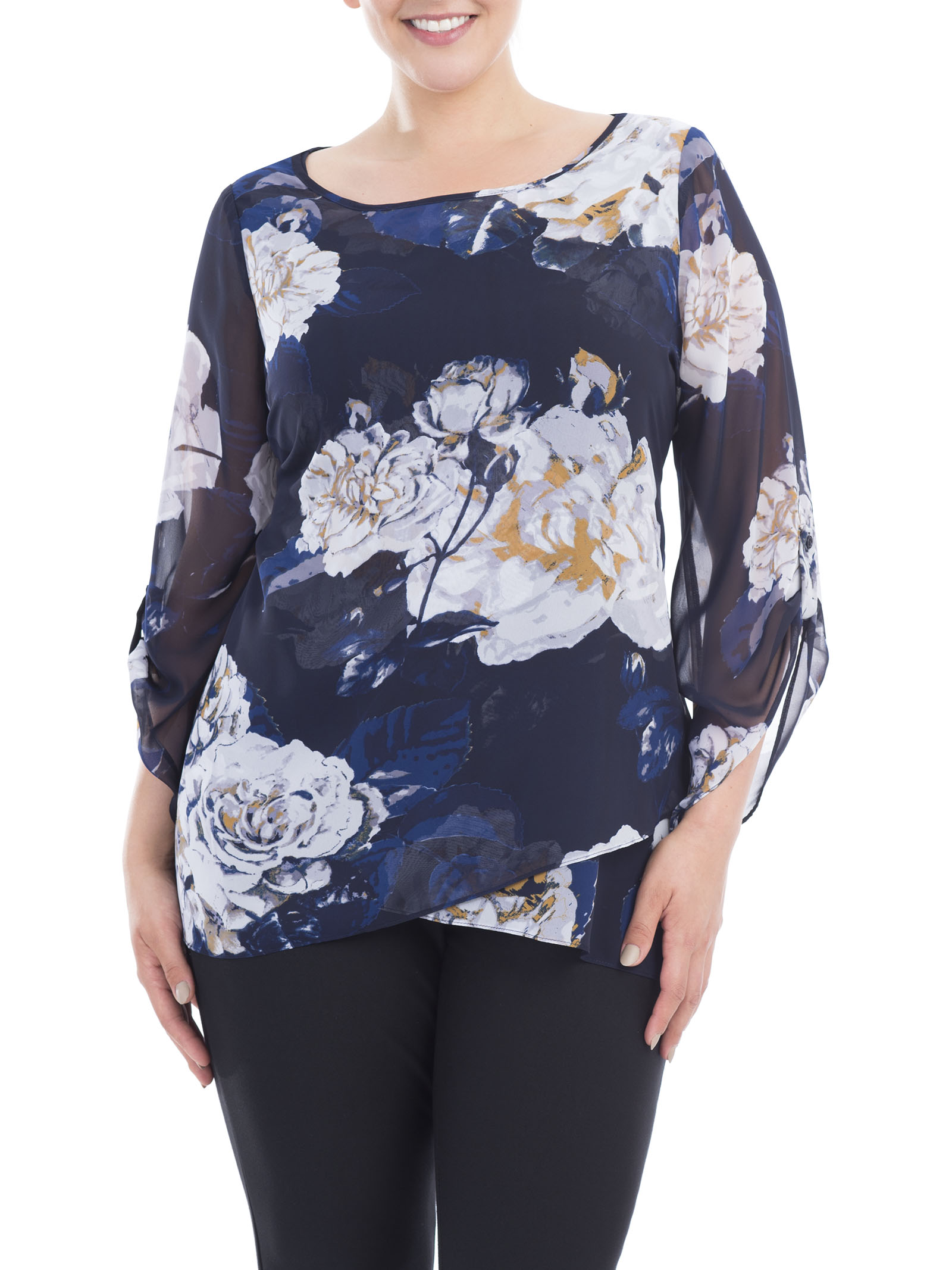 3/4 Sleeve Blouse and Cami, Blue, hi-res