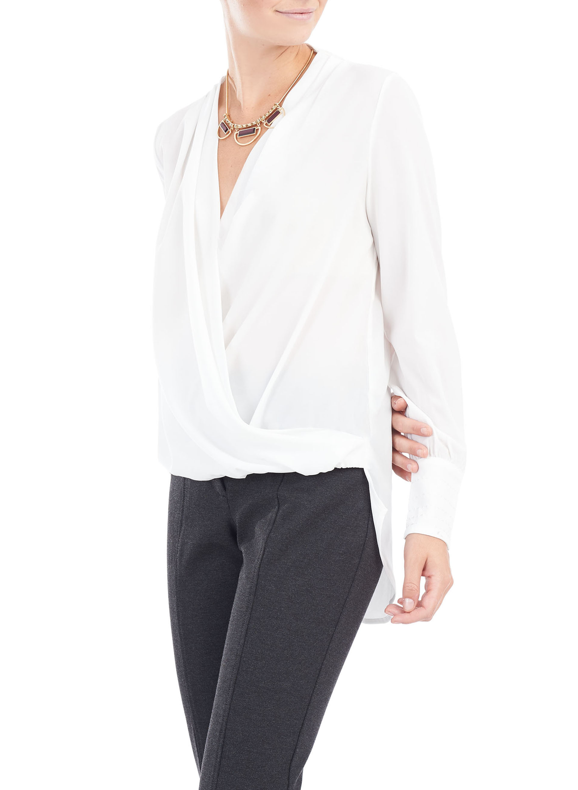 Long Sleeve Fold Over Blouse, Off White, hi-res