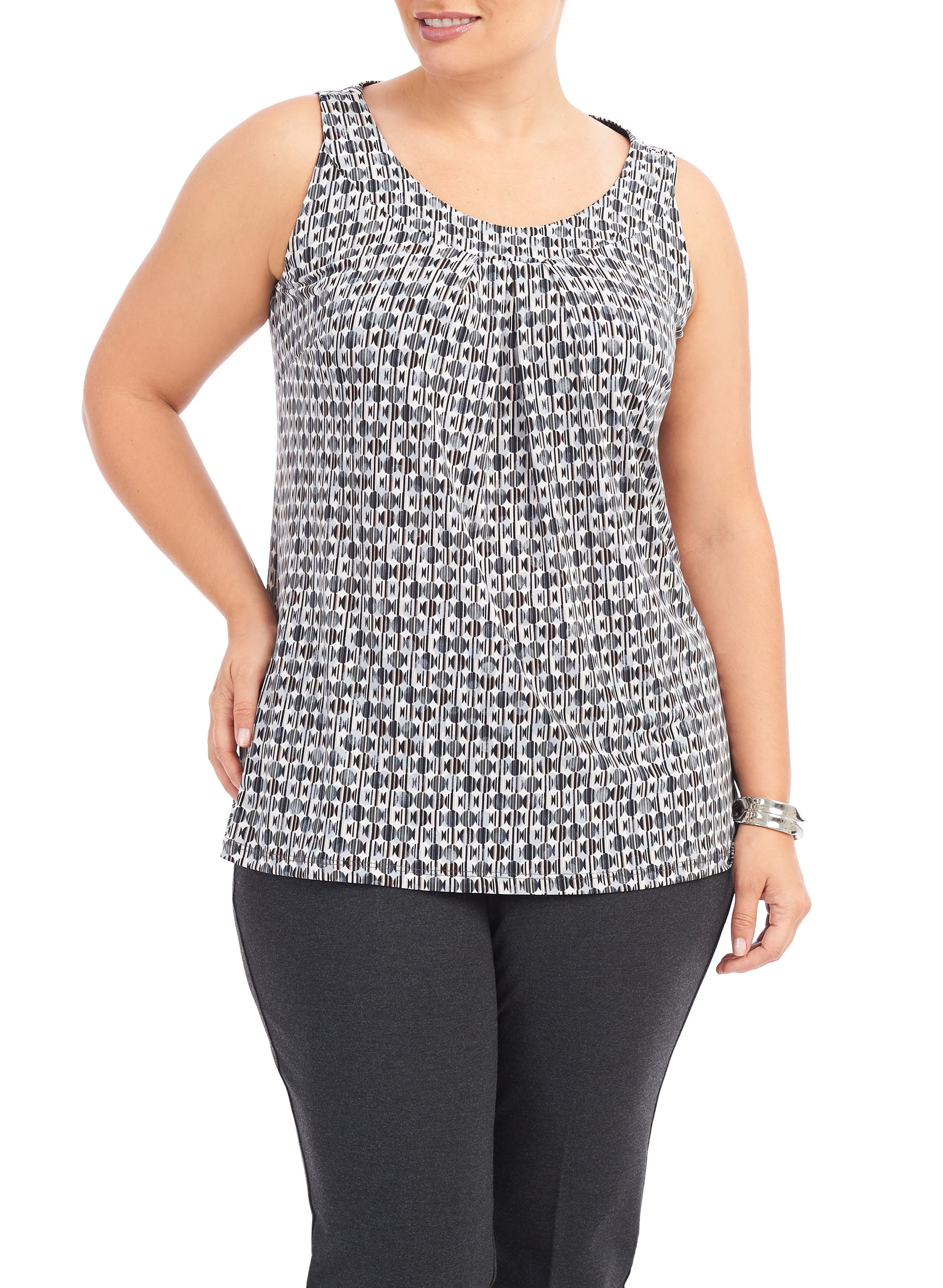 Sleeveless Cleo Neck Top, Grey, hi-res