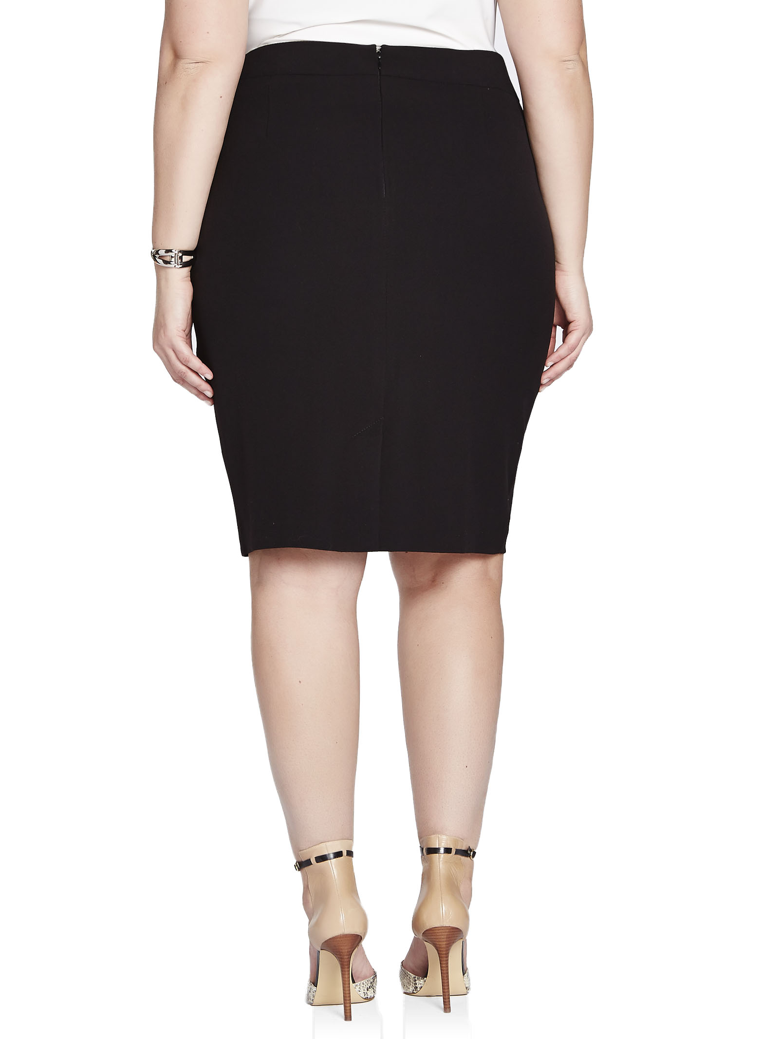 Banded Waist Pencil Skirt, Black, hi-res