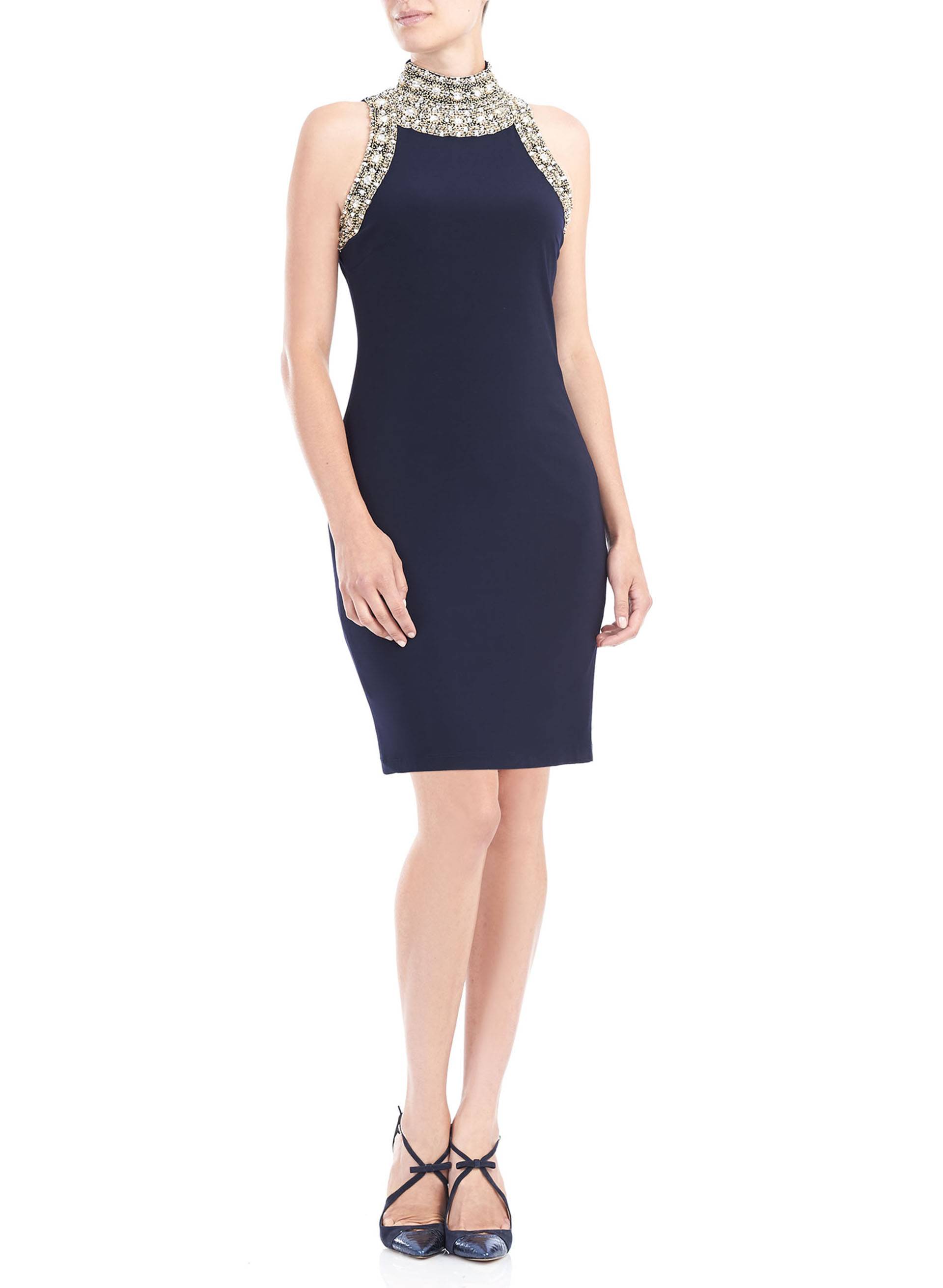 Sleeevless High Neck Beaded Dress, Blue, hi-res