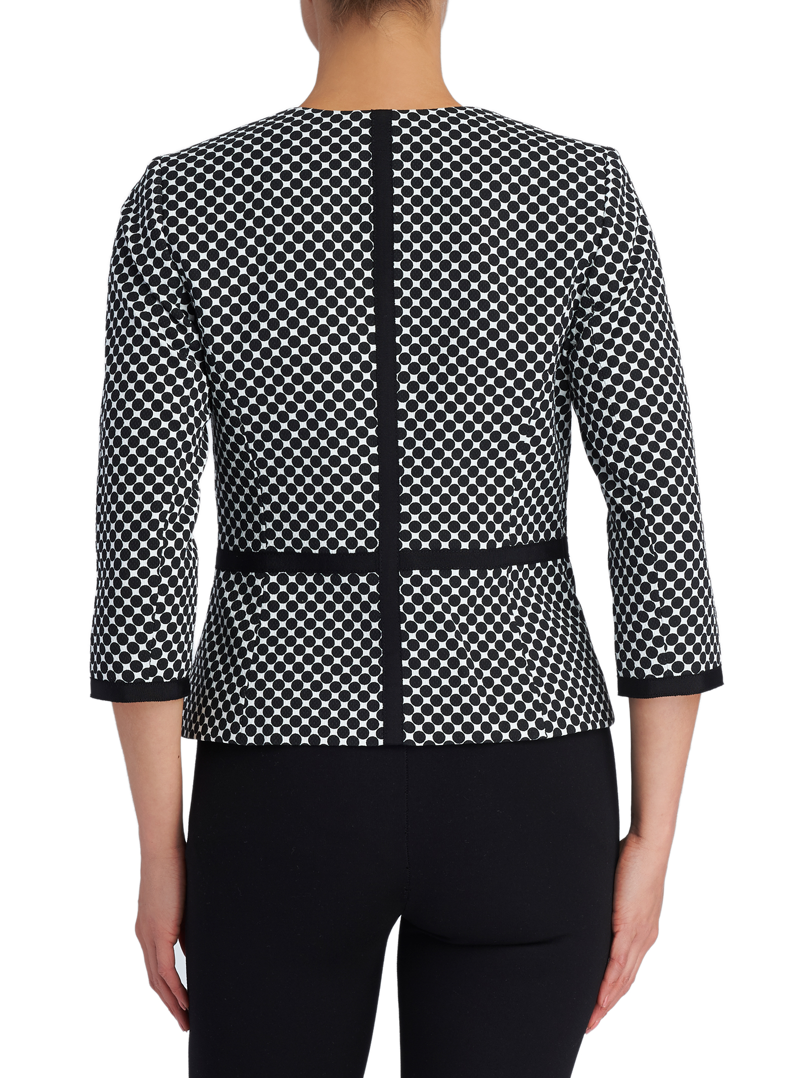Grosgrain Trim Dot Print Jacket, White, hi-res