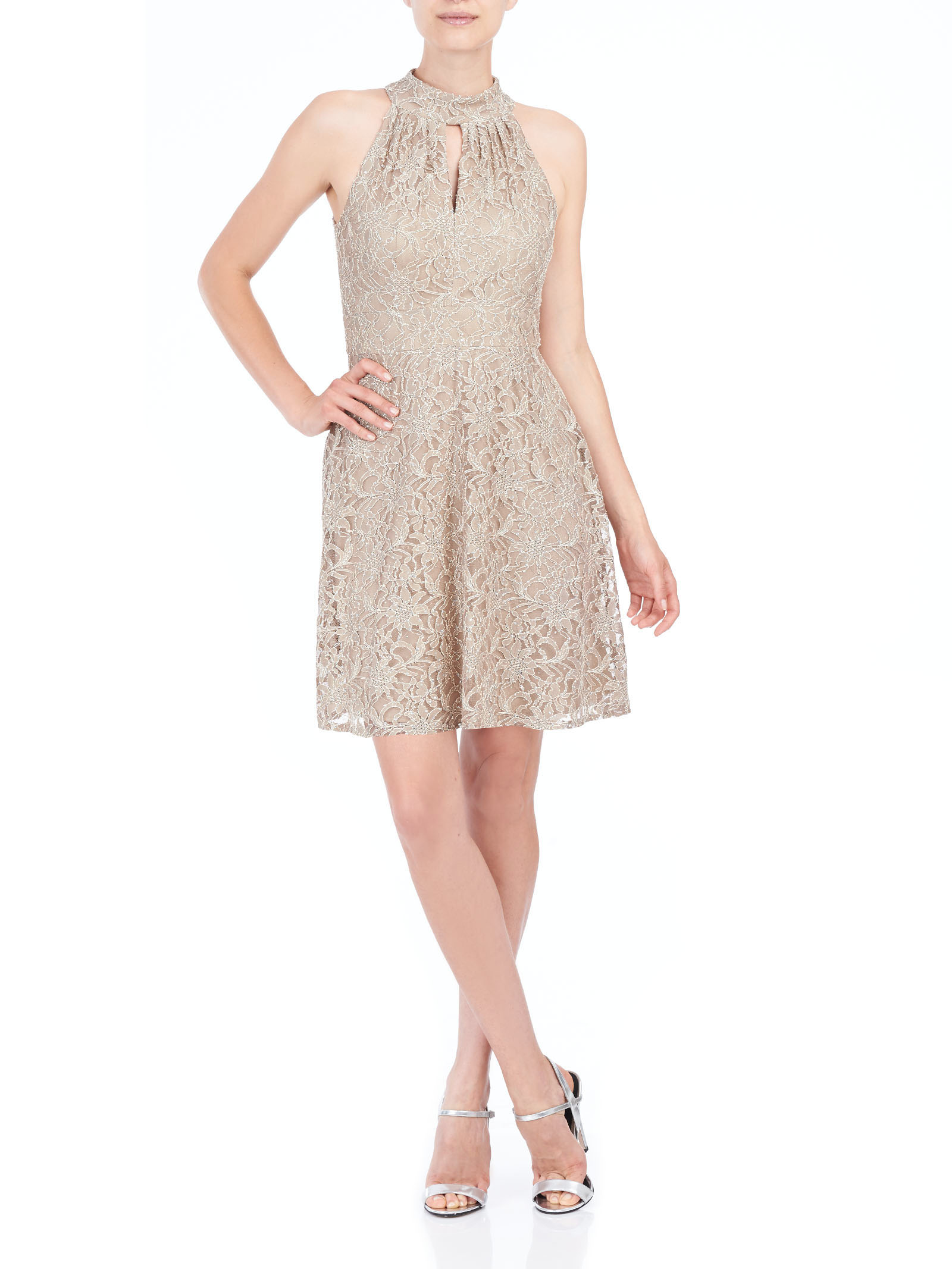 Sleeveless Lace Dress, Off White, hi-res