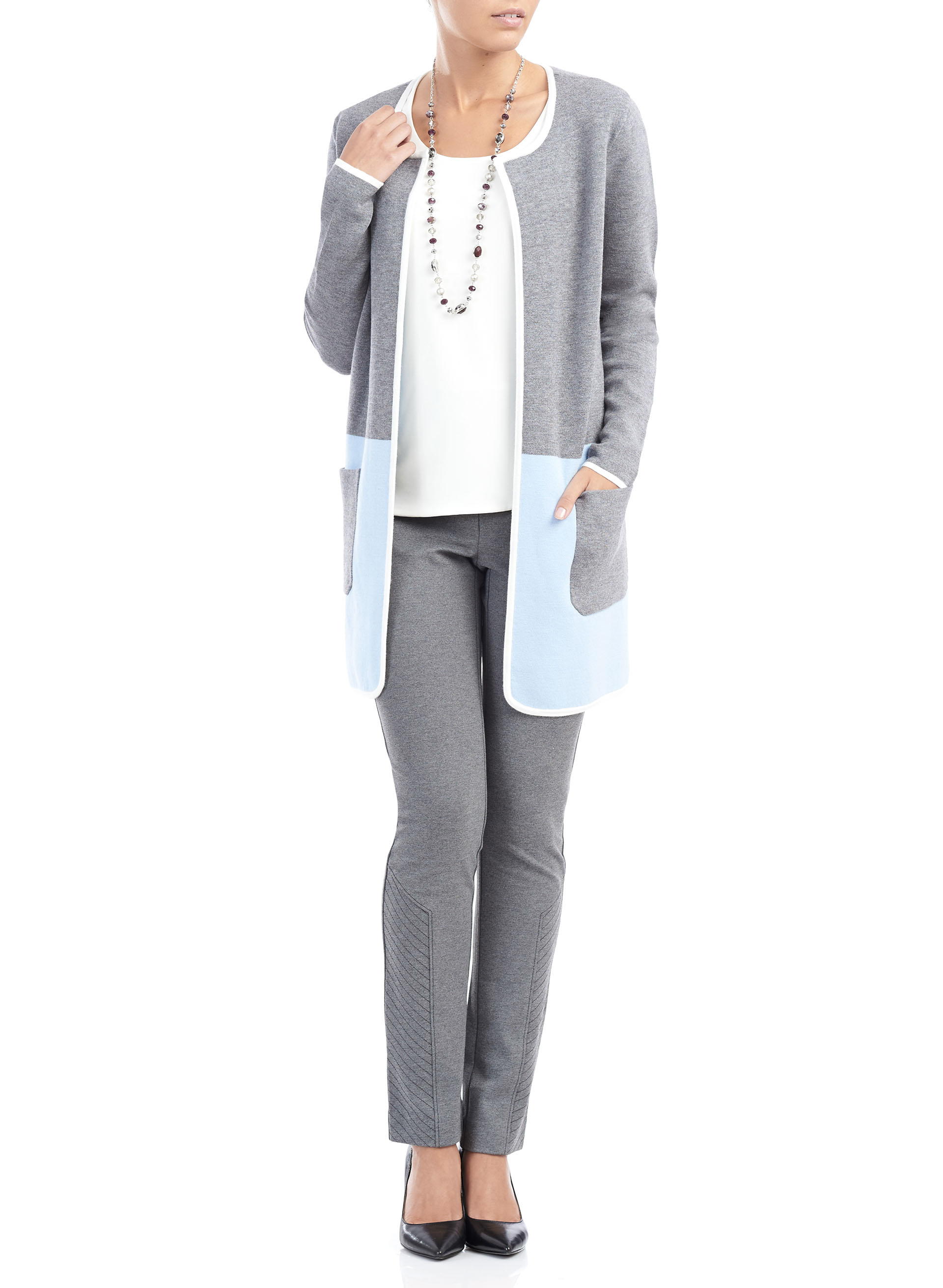 Long Sleeve Colour Blocked Cardigan, Blue, hi-res