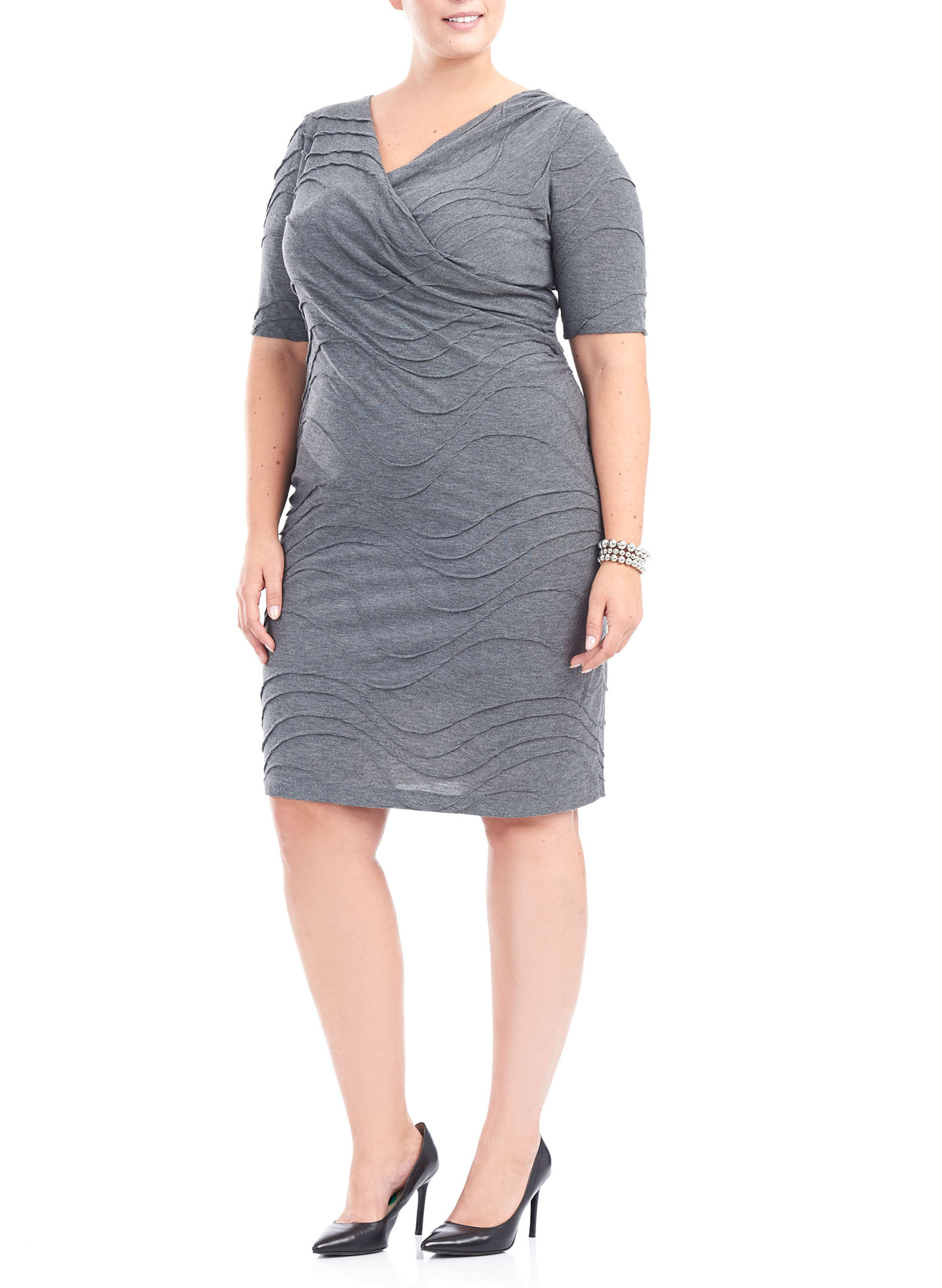 Elbow Sleeve Asymmetrical Knit Dress, Grey, hi-res