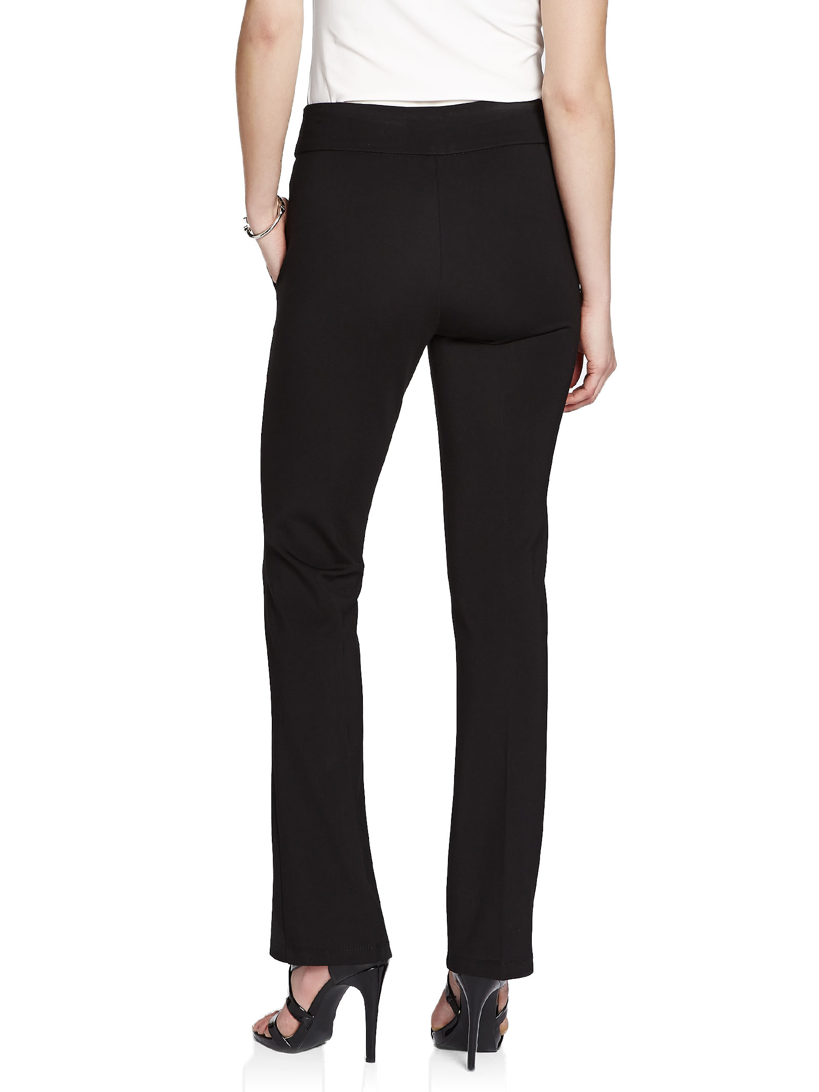 City Fit Pull-On Ponte Boot Cut Pants, Black, hi-res