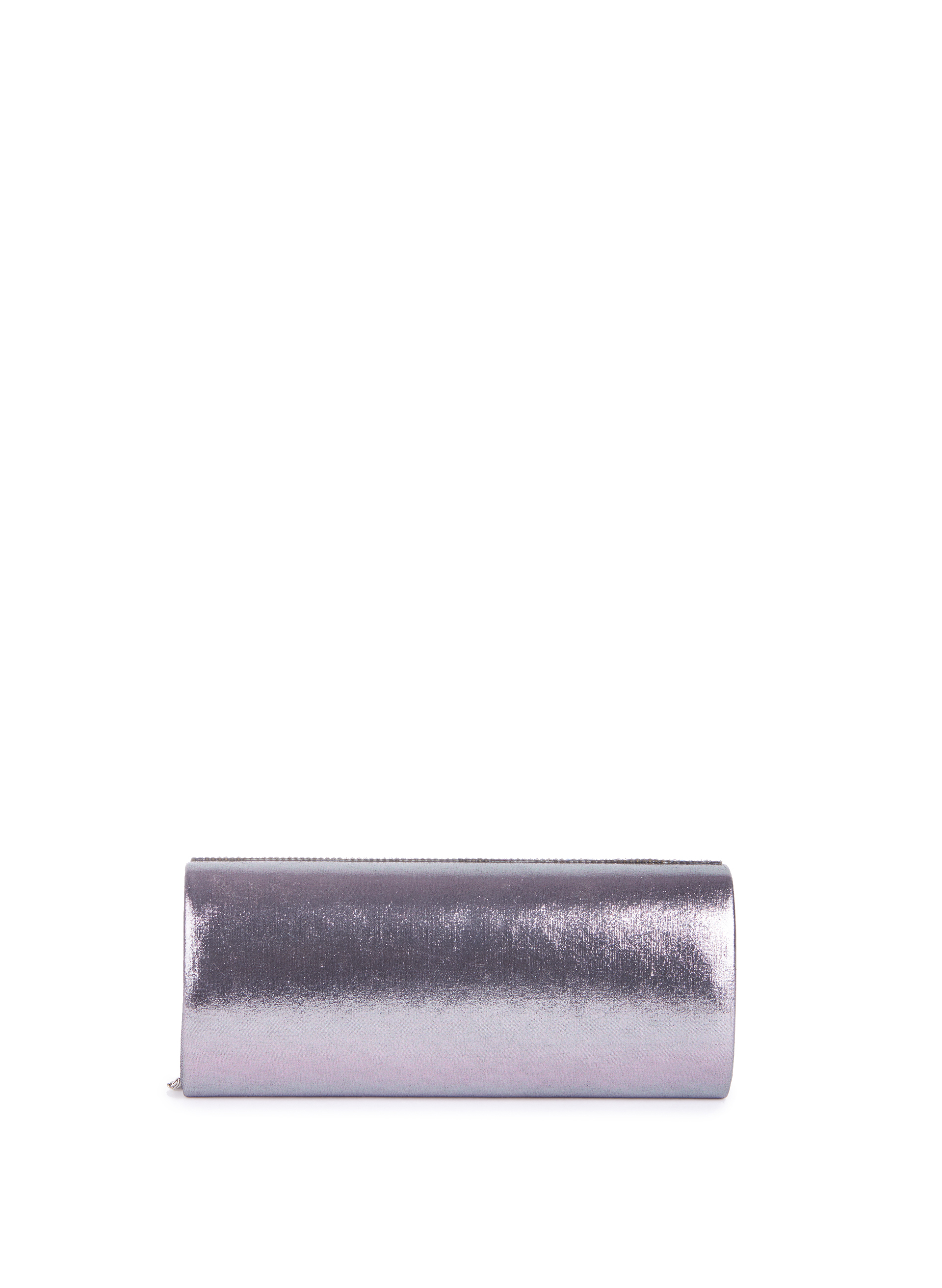 Metallic Crystal Clutch , Grey, hi-res