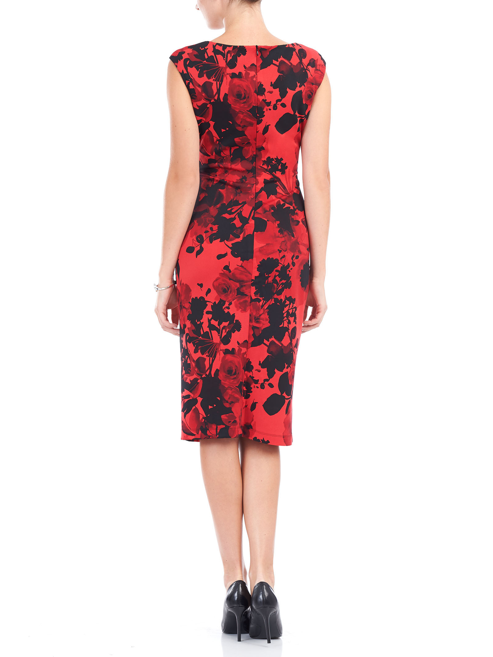 Sleeveless Floral Print Scuba Dress, Red, hi-res