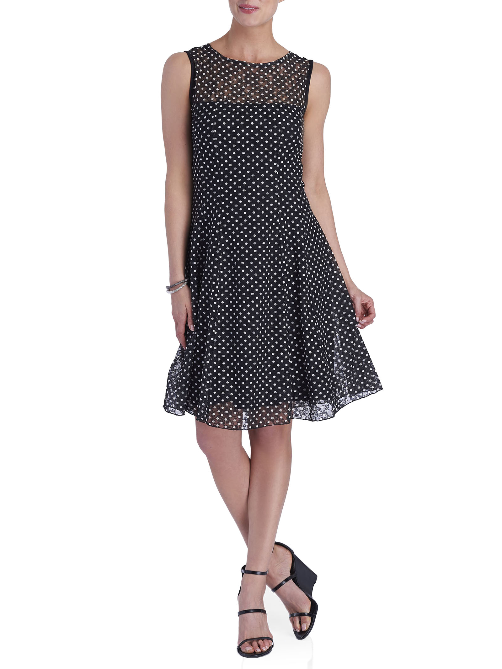 Sleeveless Printed A-Line Dress, Black, hi-res