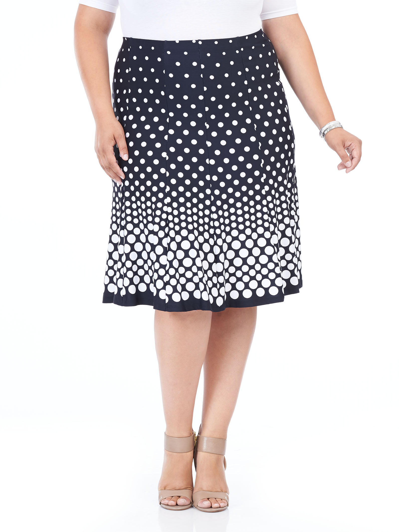 Polka Dot Print A-Line Skirt, Blue, hi-res