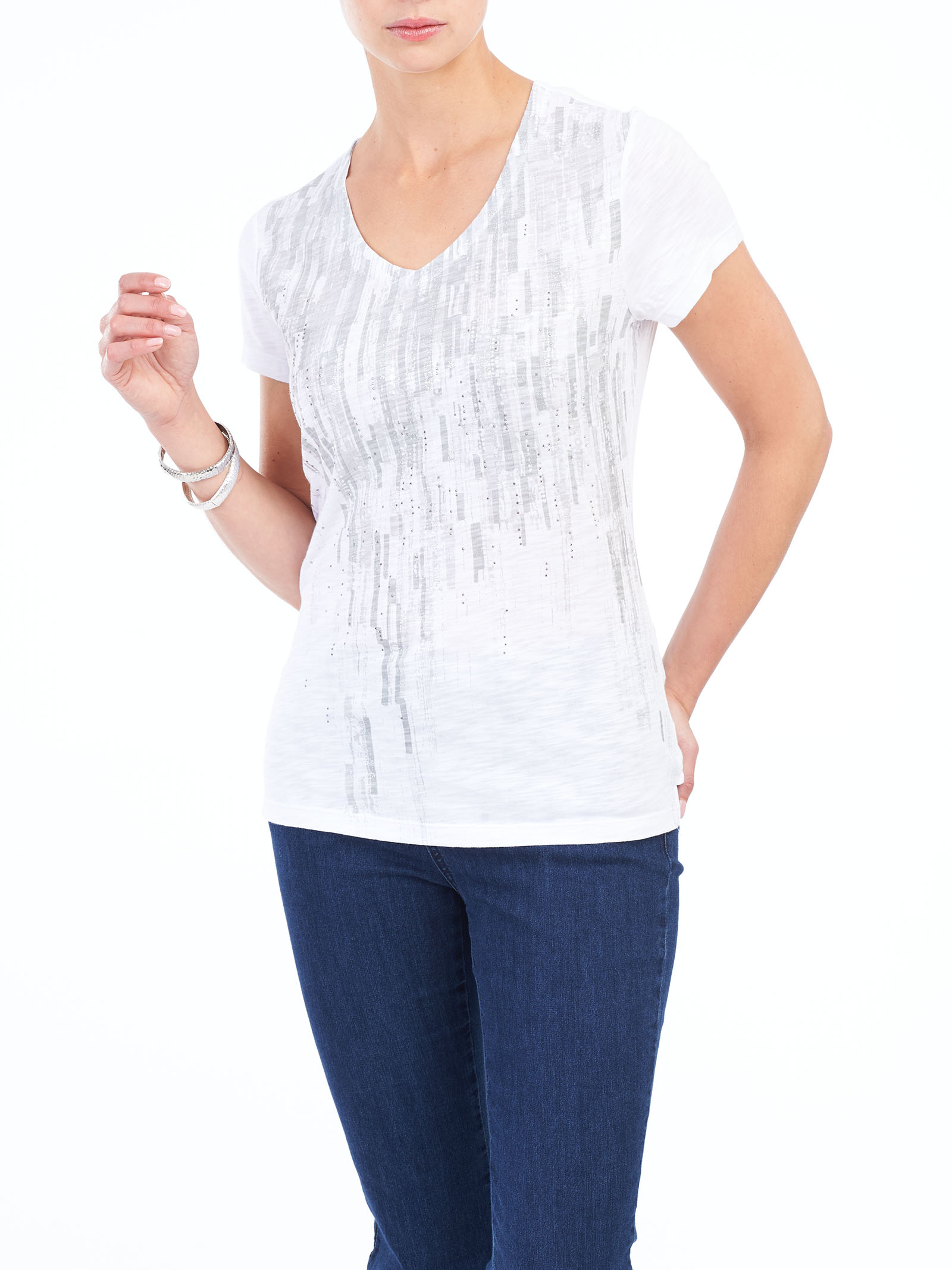 V-Neck Rhinestone Detail T-Shirt, Grey, hi-res