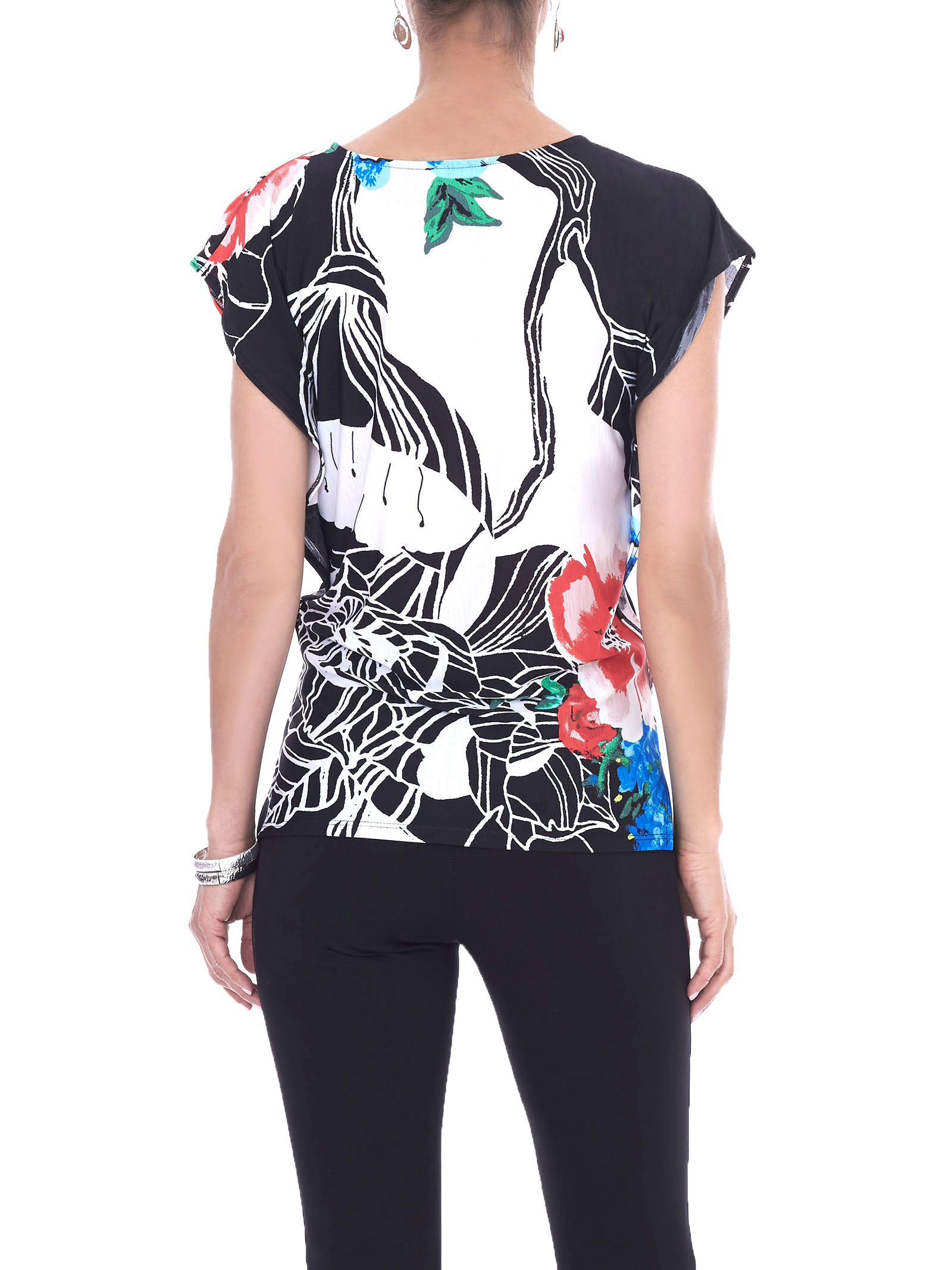 Short Sleeve Floral Print Top, Black, hi-res