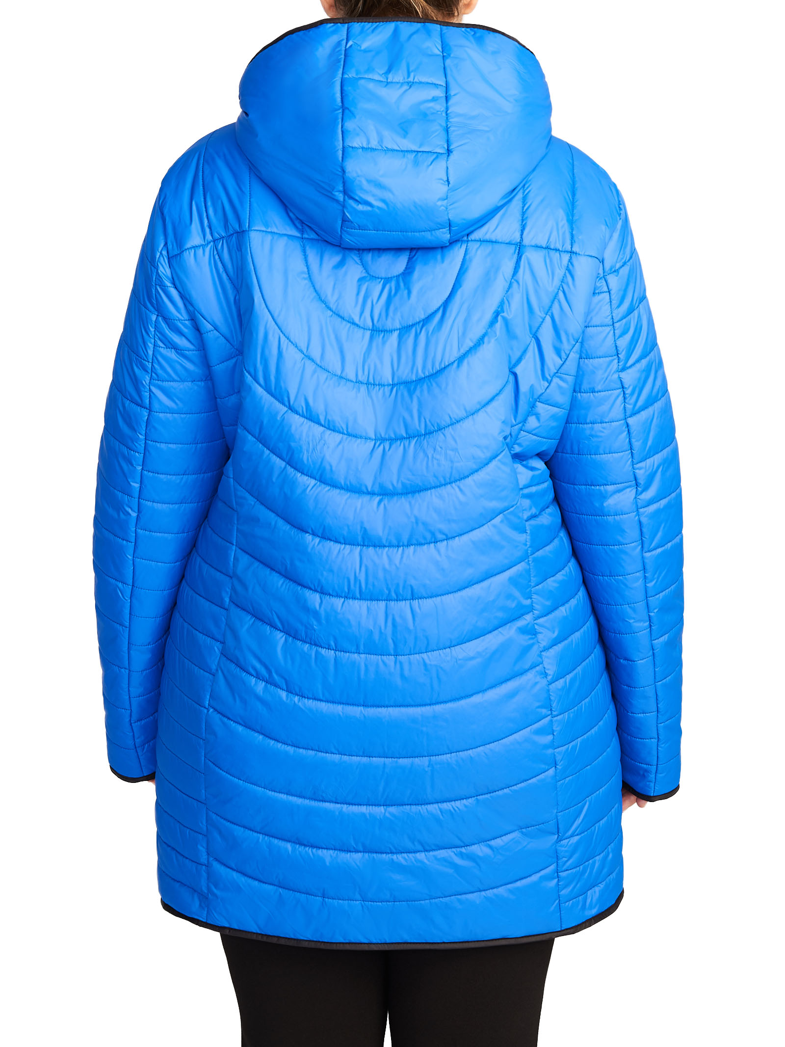 Contrast Zip Quilted Raincoat, Blue, hi-res