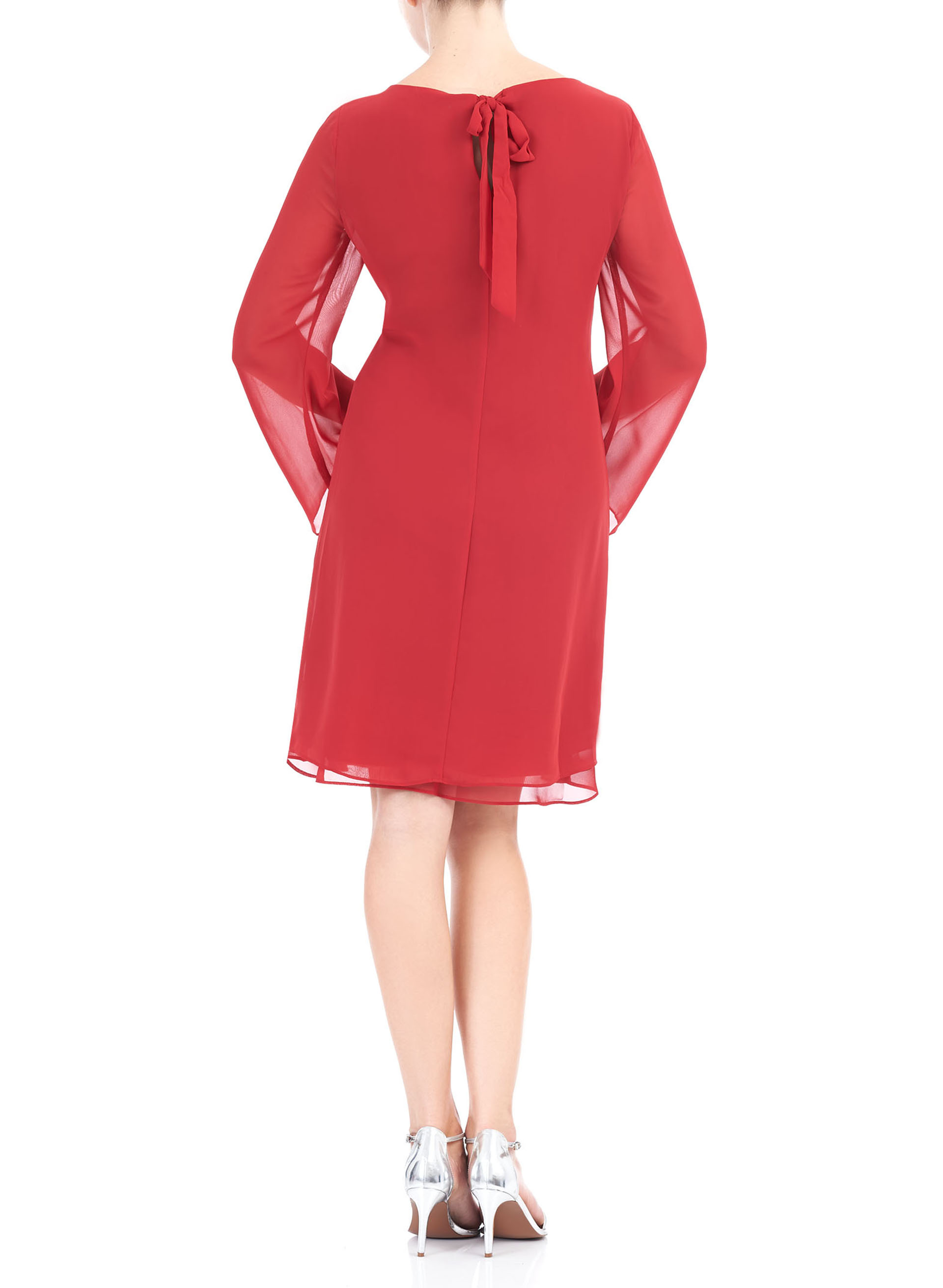 Chiffon Chain Trim Dress, Red, hi-res