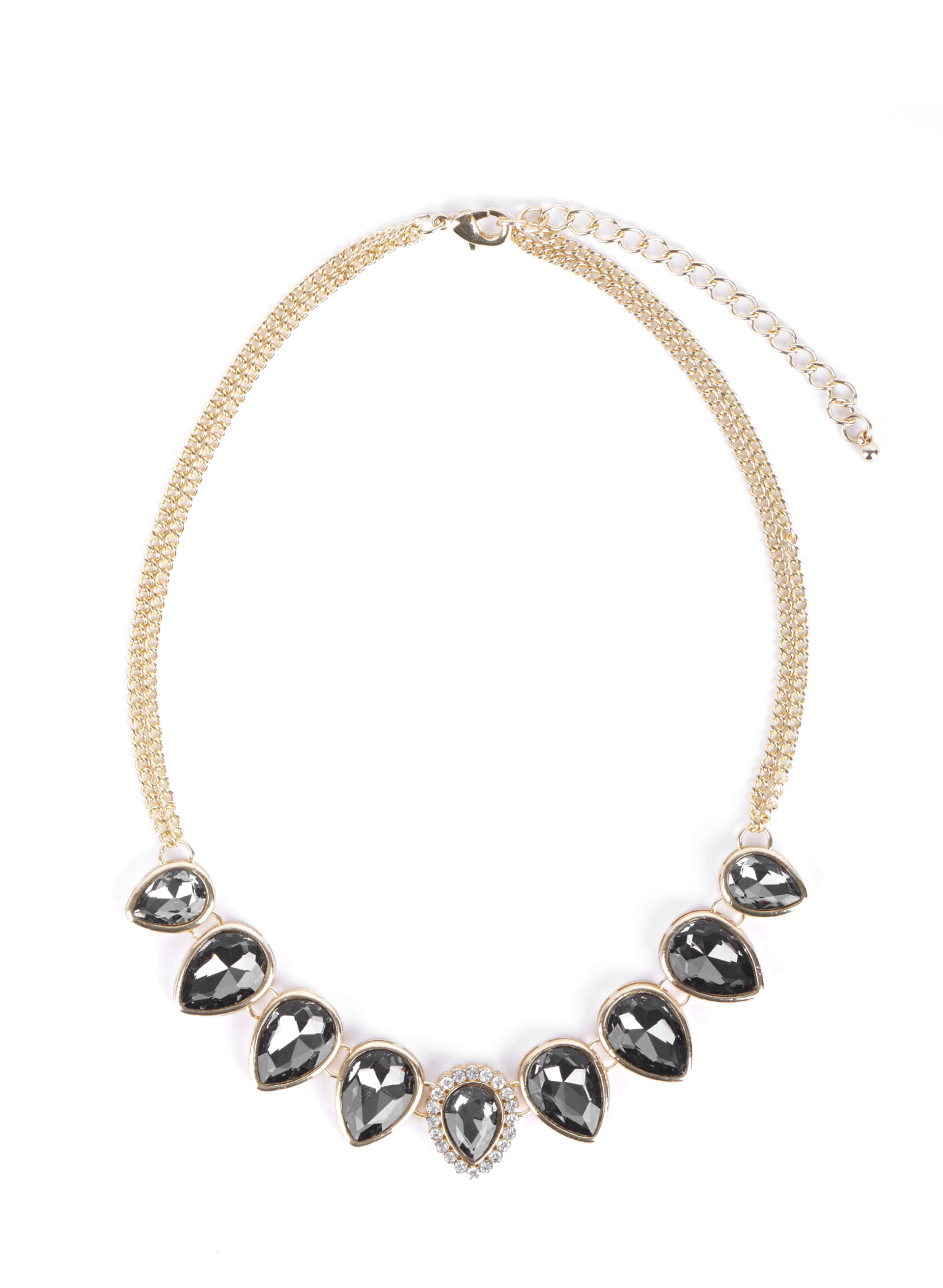 Teardrop Stone Double Chain Necklace, Grey, hi-res