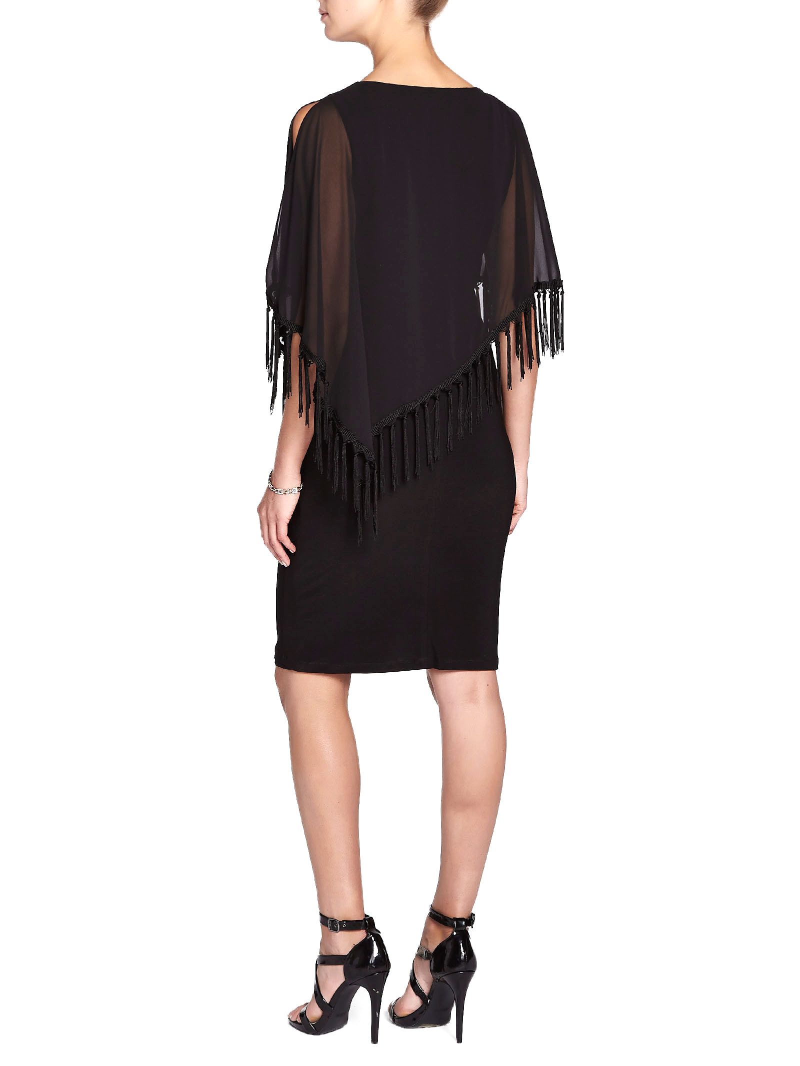 Jersey Fringe Poncho Overlay Dress, Black, hi-res