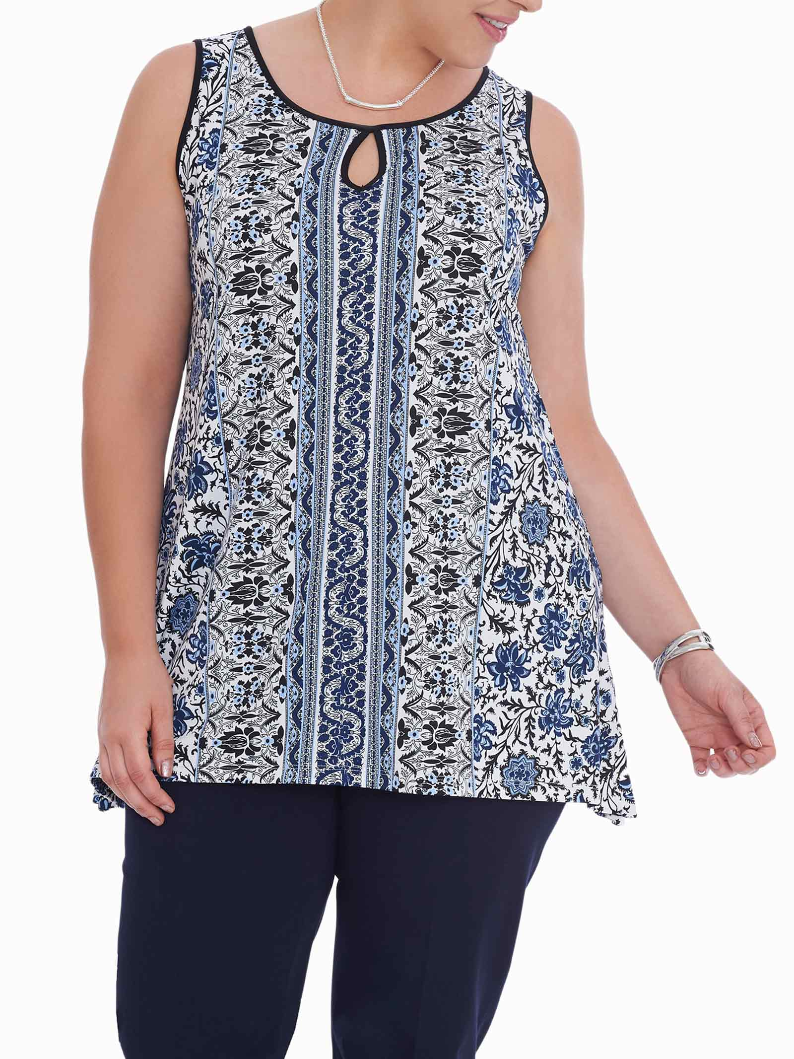 Sleeveless Cleo Neck Tunic Top, Blue, hi-res