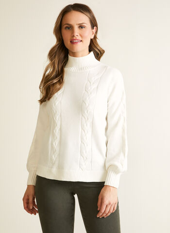 Pull torsadé à manches bouffantes, Blanc,  automne hiver 2020, pull, chandail, tricot, manches longues, manches bouffantes, col cheminée, torsadé
