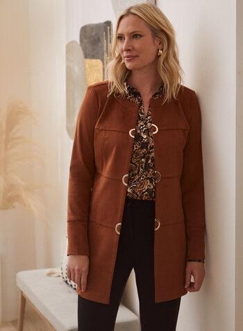 Faux Suede Redingote, Beige,  redingote, jacket, faux suede, long sleeves, fall winter 2020