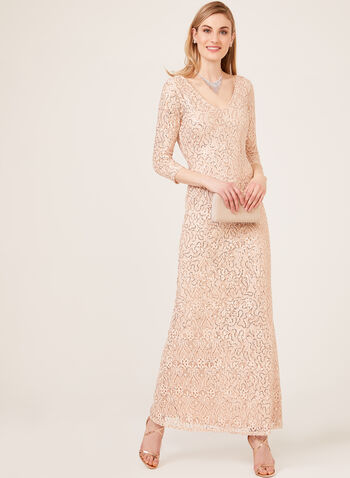 Marina - Sequin Lace ¾ Sleeve Gown, Brown, hi-res