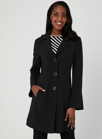 Manteau imperméable à capuchon amovible, Noir, hi-res
