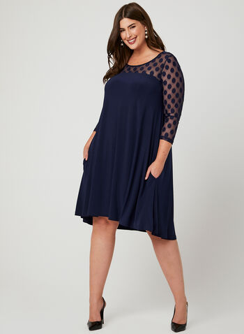 Nina Leonard - Yoke Neck Trapeze Dress, Blue, hi-res